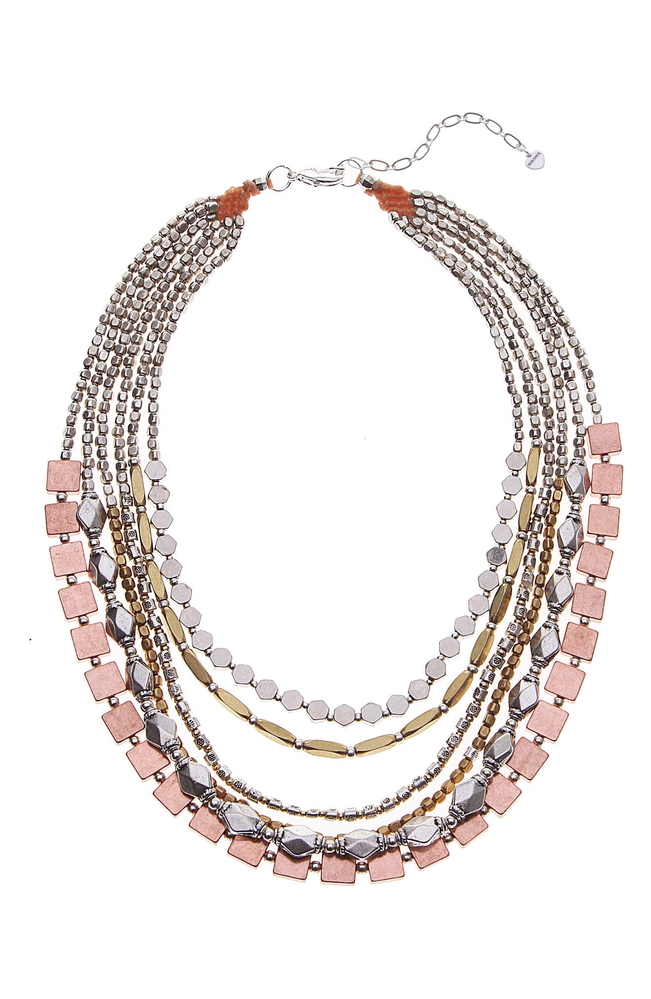 Layered Mixed Metal Necklace,                             Main thumbnail 1, color,                             Copper