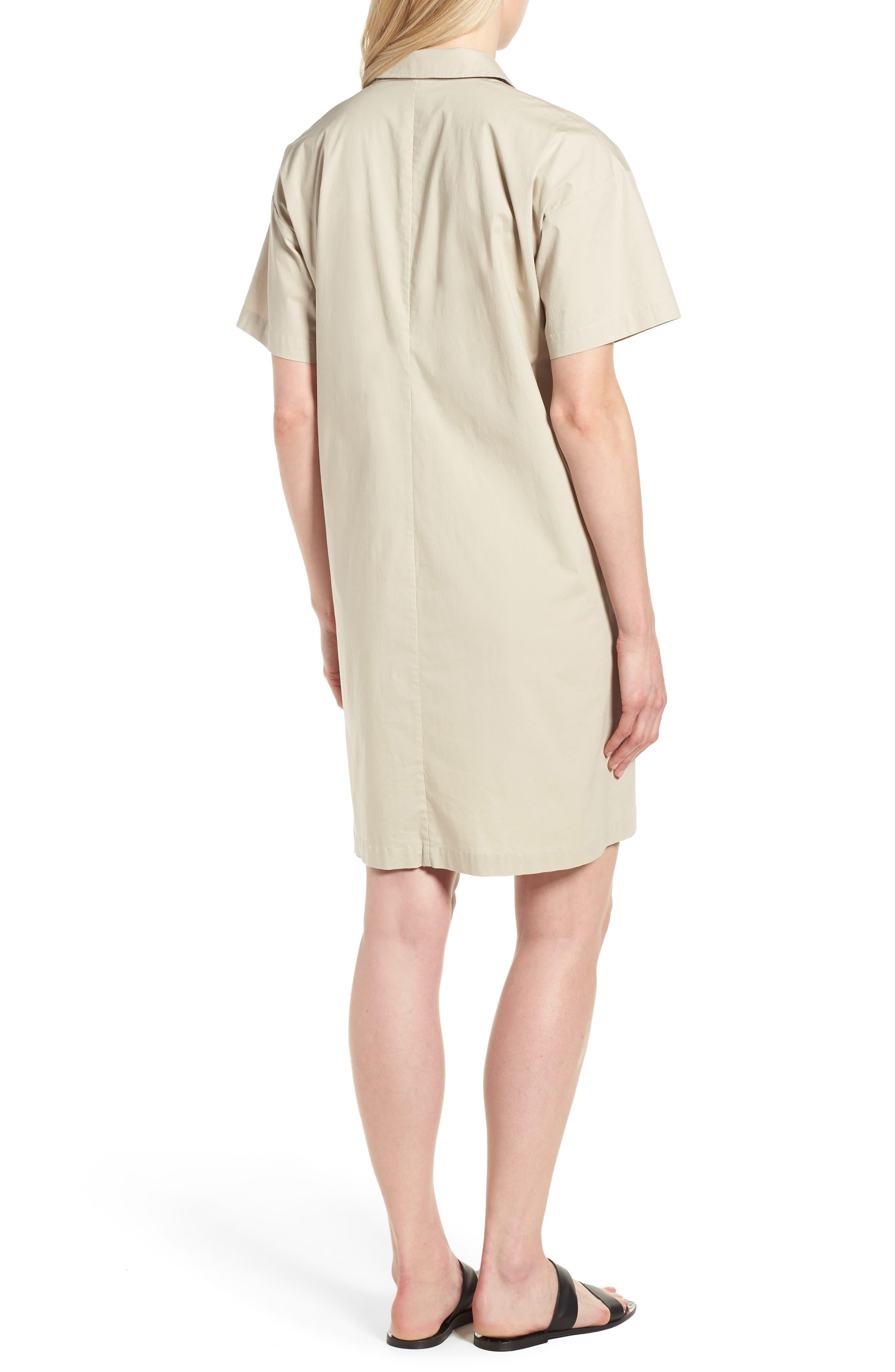 Organic Cotton Poplin Shirtdress,                             Alternate thumbnail 2, color,                             Pebble