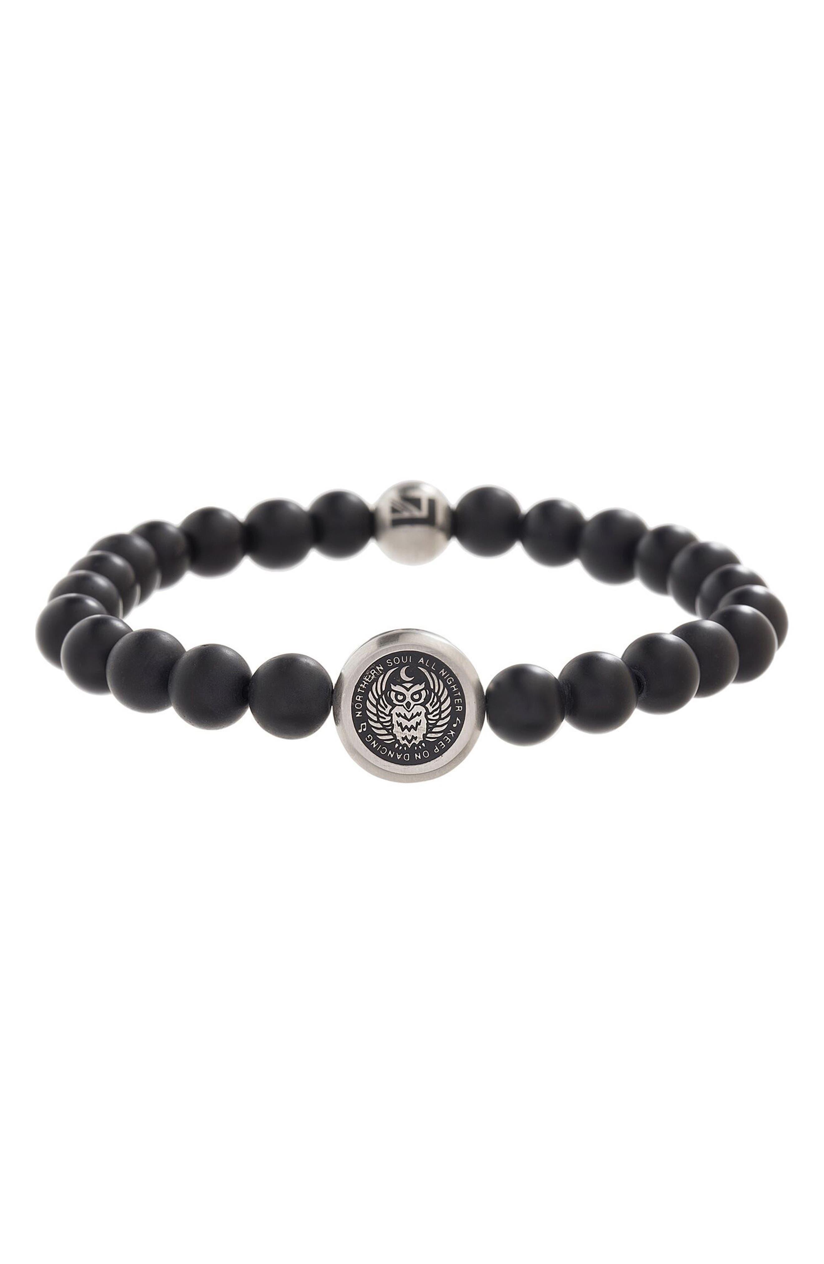 Stone Bead Bracelet,                         Main,                         color, Black