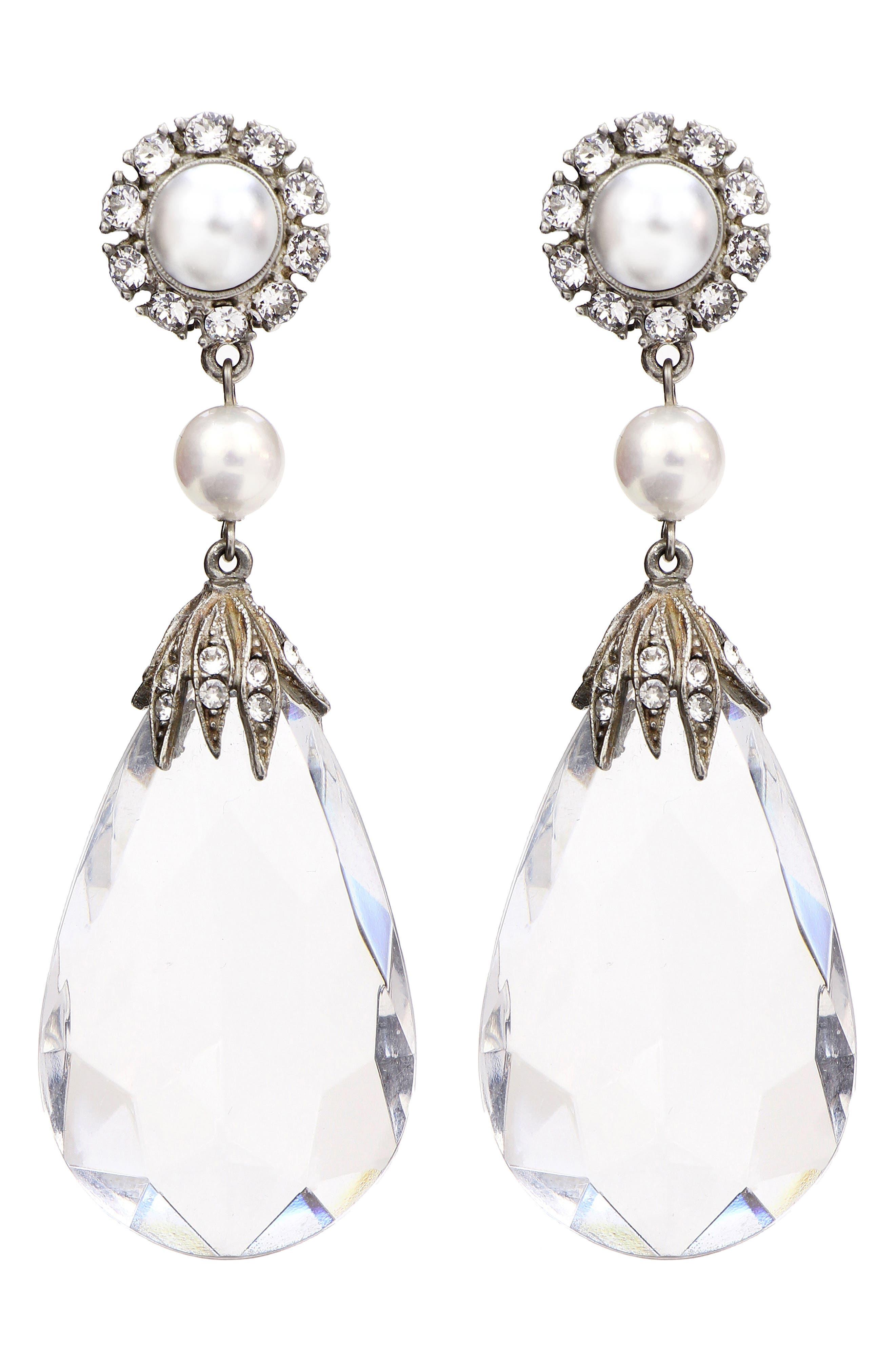 Imitation Pearl & Crystal Clip Earrings,                             Main thumbnail 1, color,                             Clear/ Silver