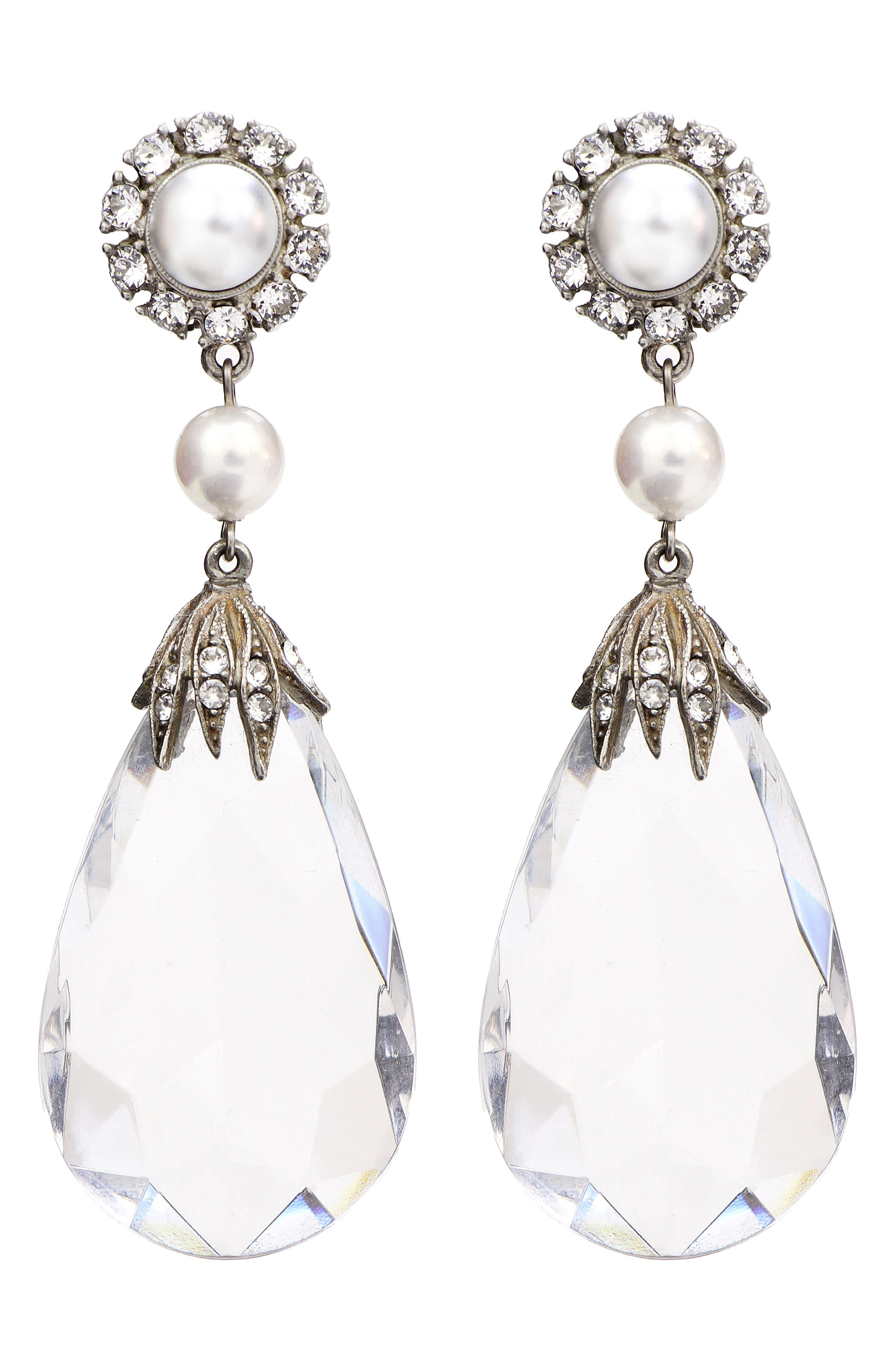 Imitation Pearl & Crystal Clip Earrings,                         Main,                         color, Clear/ Silver