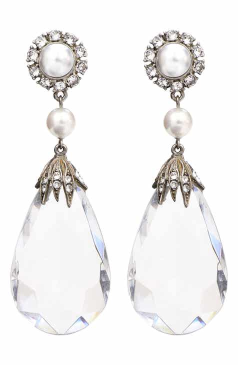 Ben Amun Imitation Pearl Crystal Clip Earrings