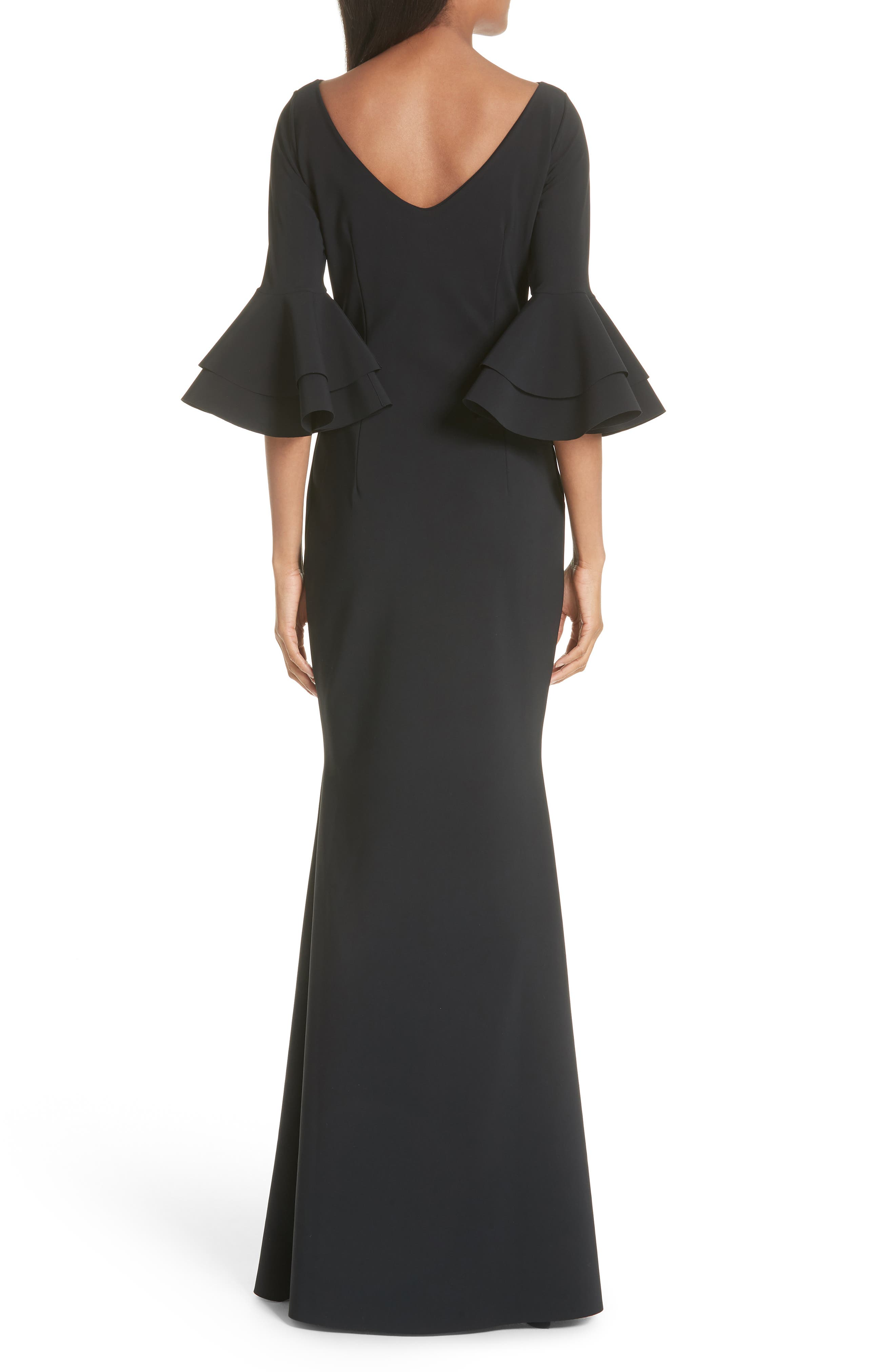 Iva Ruffle Bell Sleeve Gown,                             Alternate thumbnail 2, color,                             Black