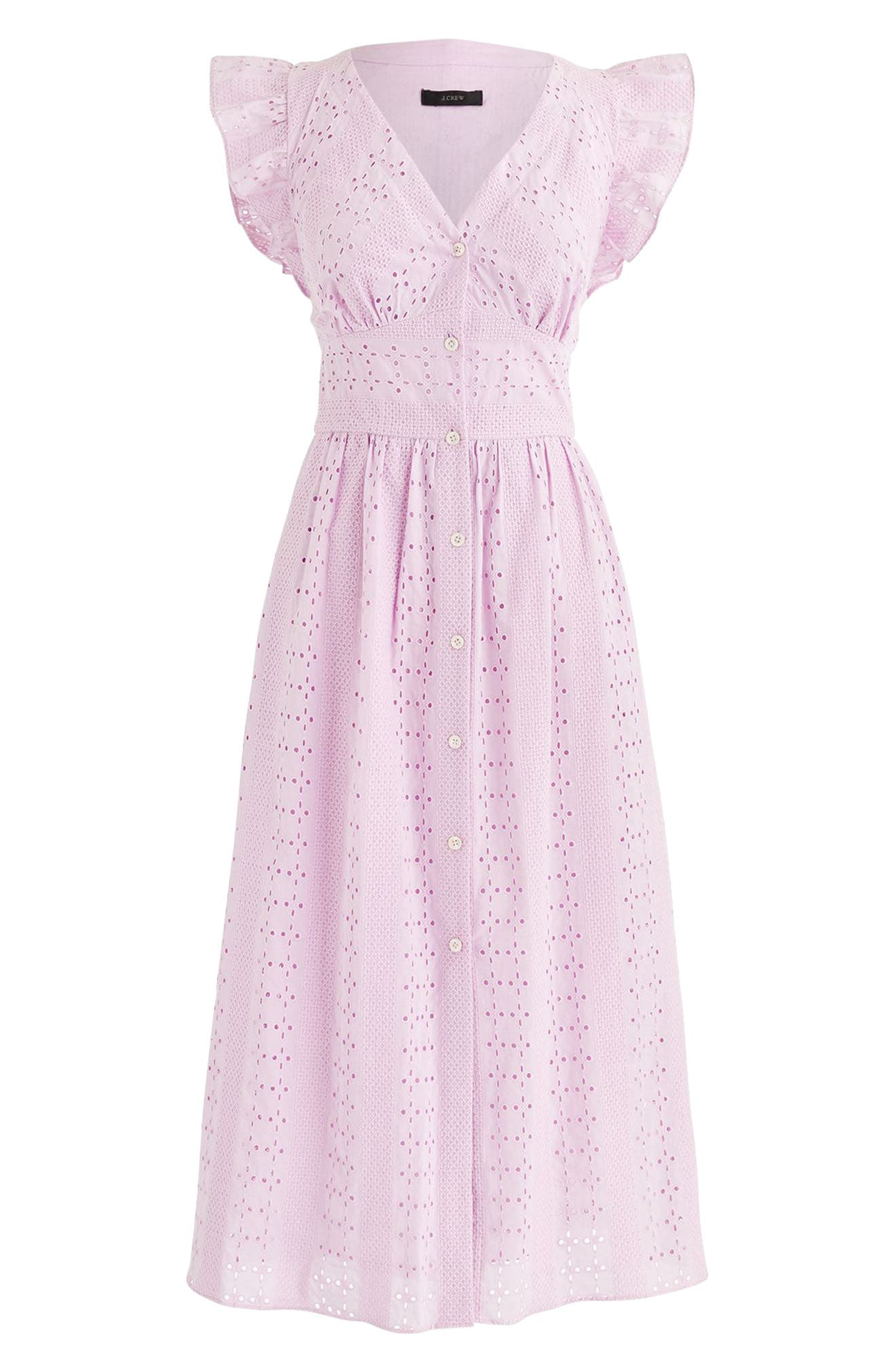 Ruffle Sleeve Eyelet Dress,                             Main thumbnail 1, color,                             Lavender Mist