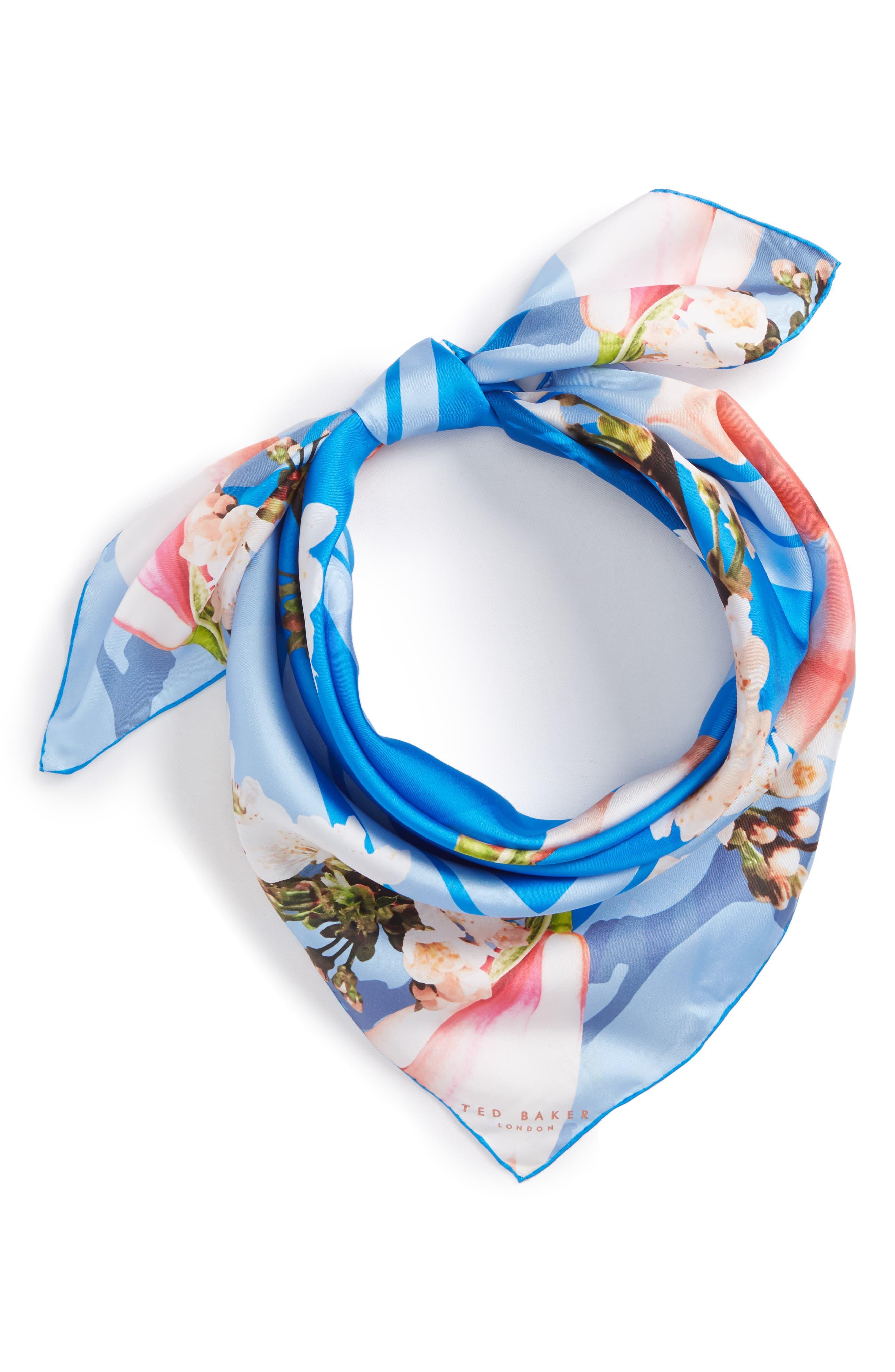 Harmony Square Silk Scarf,                             Alternate thumbnail 2, color,                             Bright Blue