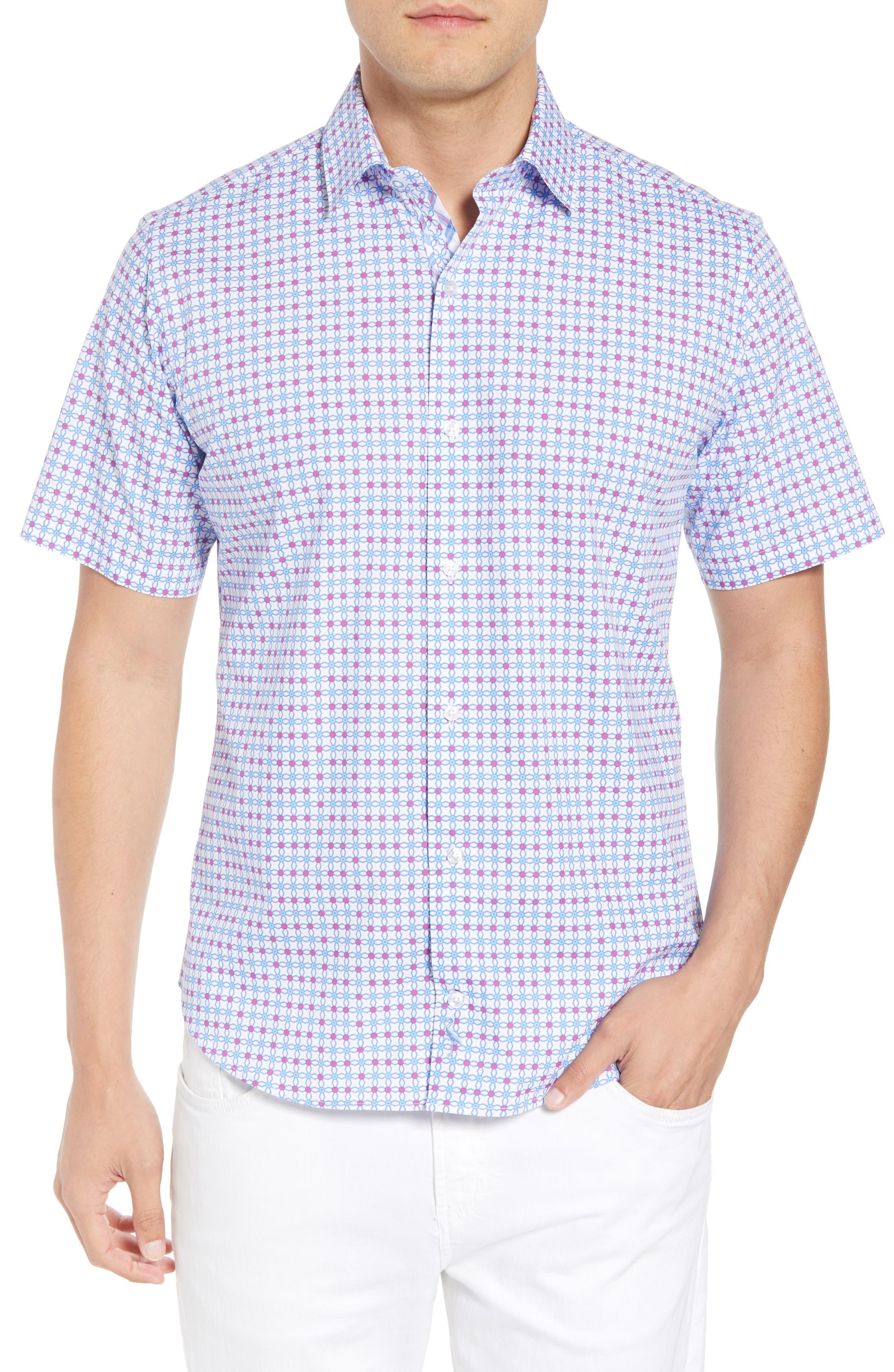 Andres Regular Fit Geo Print Sport Shirt,                             Main thumbnail 1, color,                             Aqua