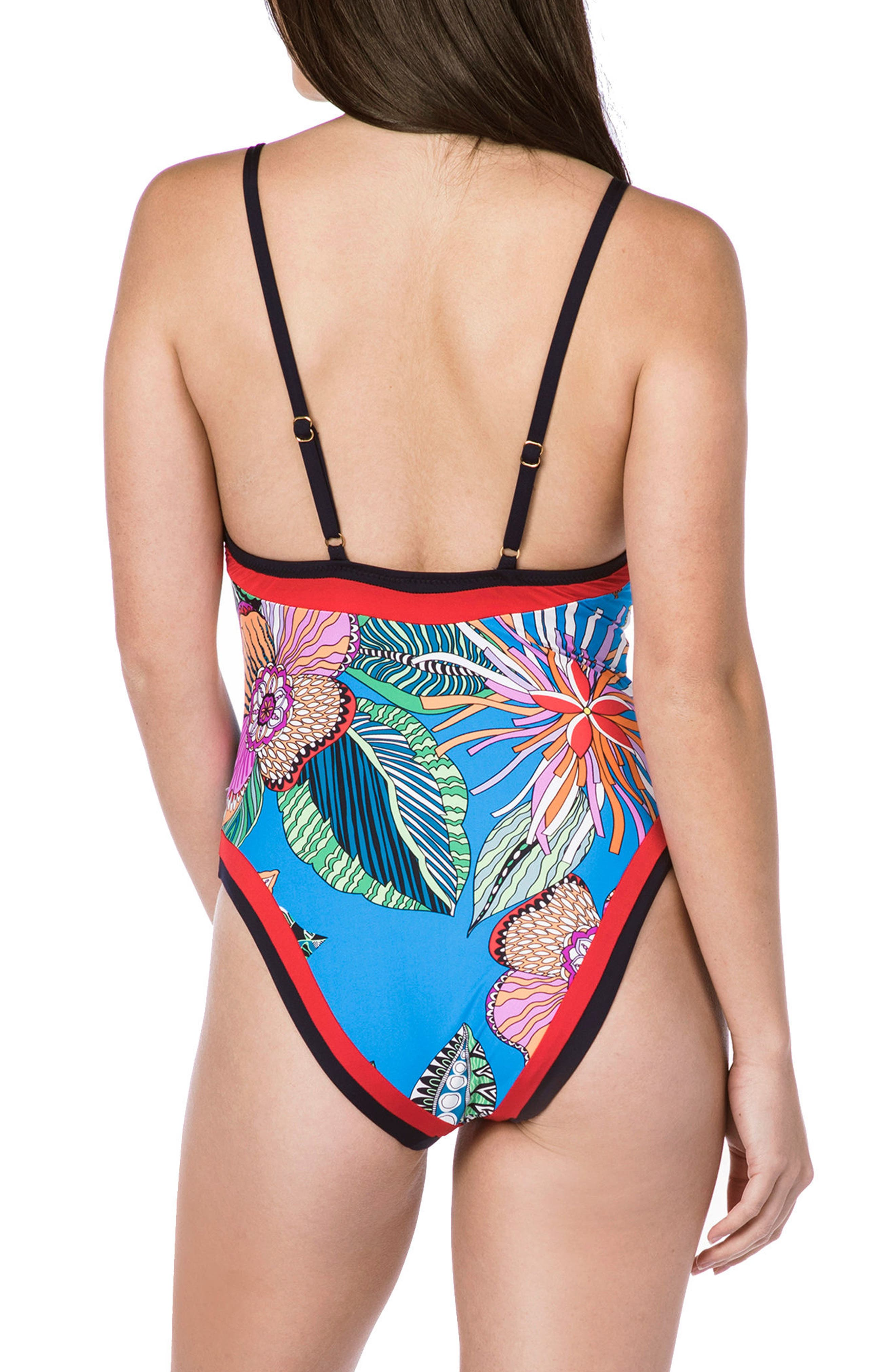 Tahiti Tropical One-Piece Swimsuit,                             Alternate thumbnail 2, color,                             Blue Multi