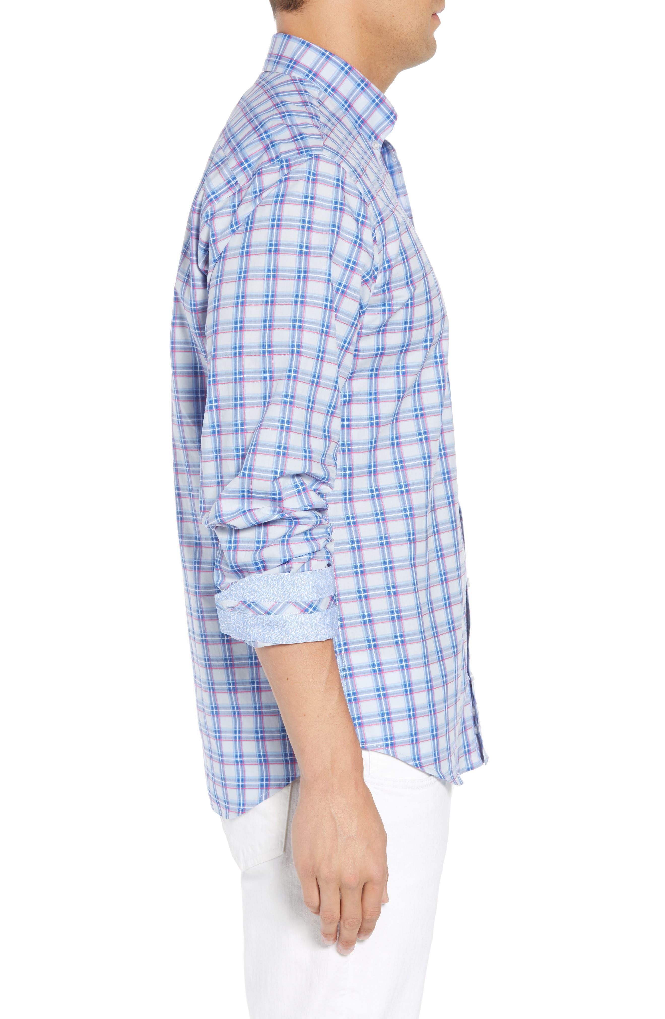 Alvaro Regular Fit Plaid Sport Shirt,                             Alternate thumbnail 4, color,                             Light Blue