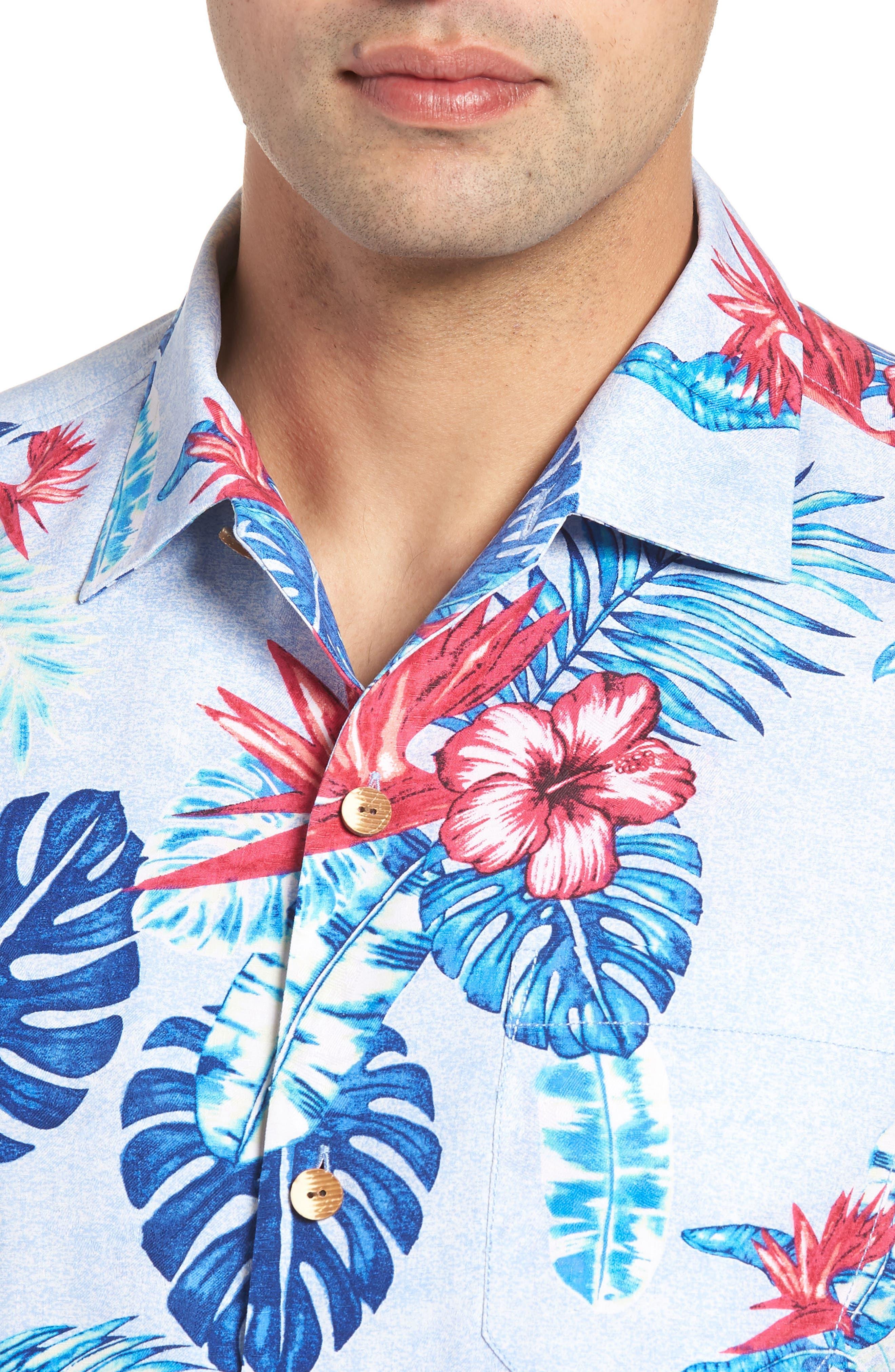 Casa Rosa Floral Print Silk Shirt,                             Alternate thumbnail 2, color,                             Light Sky
