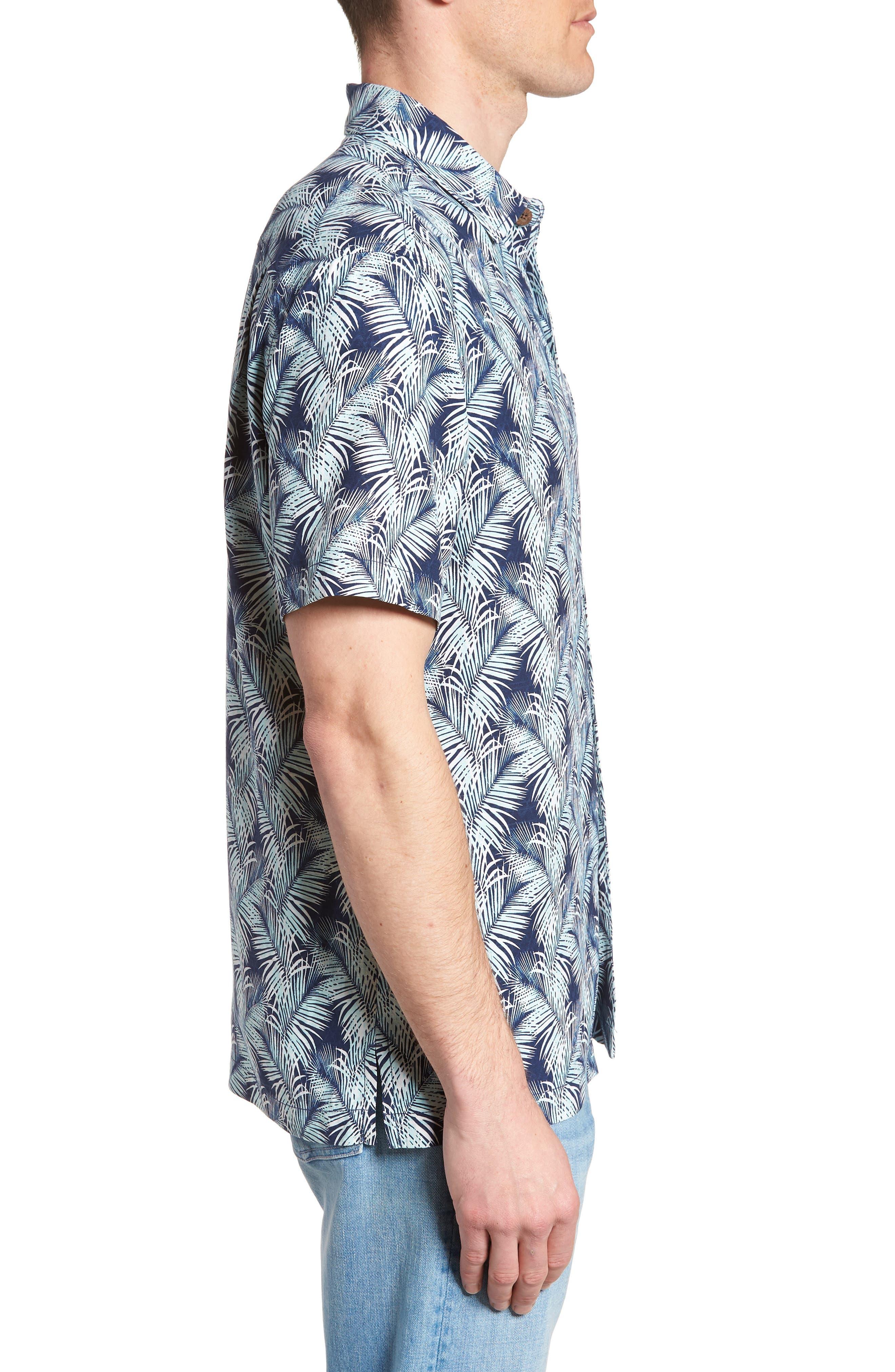 Palms of Tulum Silk Camp Shirt,                             Alternate thumbnail 4, color,                             Ocean Deep