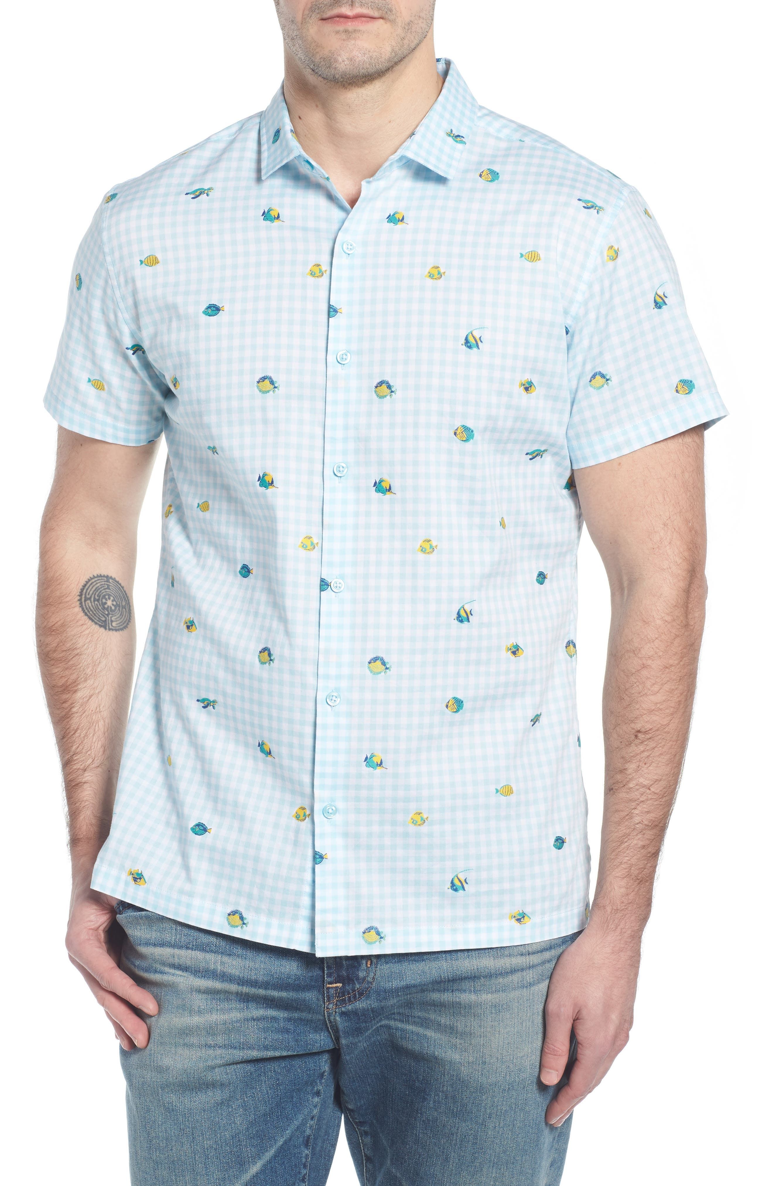 Picnic Reef Trim Fit Embroidered Camp Shirt,                             Main thumbnail 1, color,                             Sky Blue