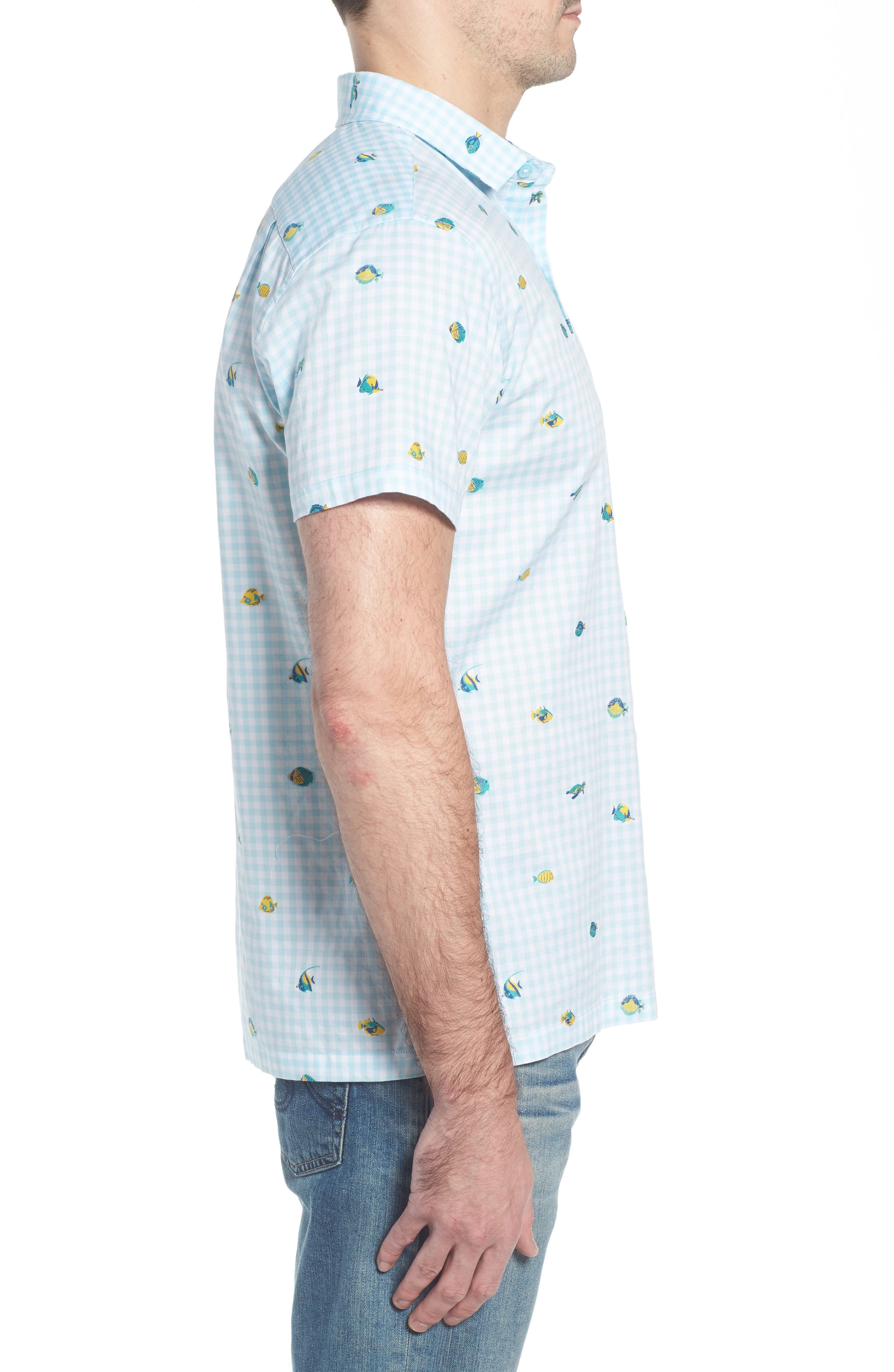 Picnic Reef Trim Fit Embroidered Camp Shirt,                             Alternate thumbnail 5, color,                             Sky Blue