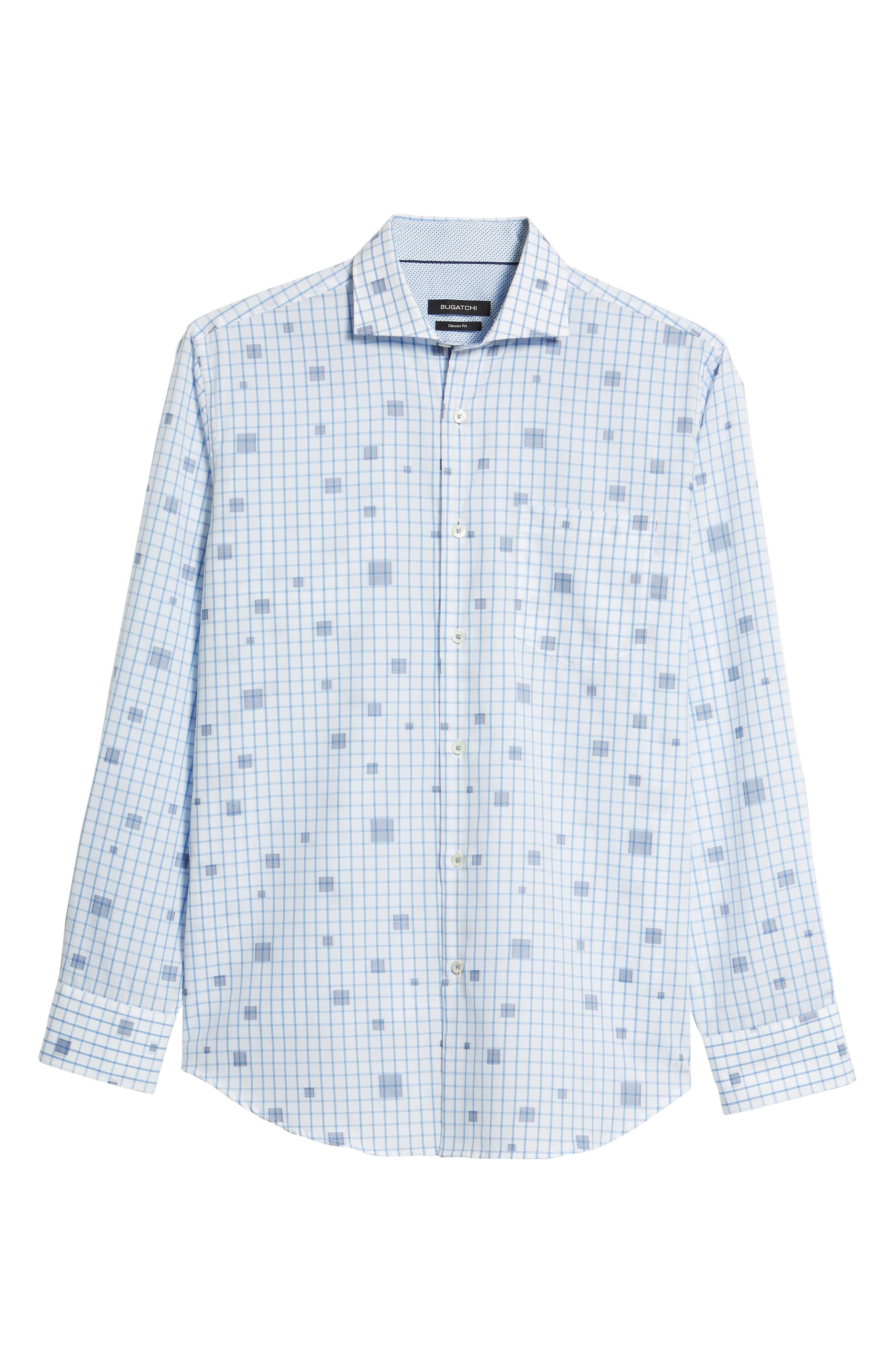 Classic Fit Square Check Sport Shirt,                             Alternate thumbnail 6, color,                             Classic Blue