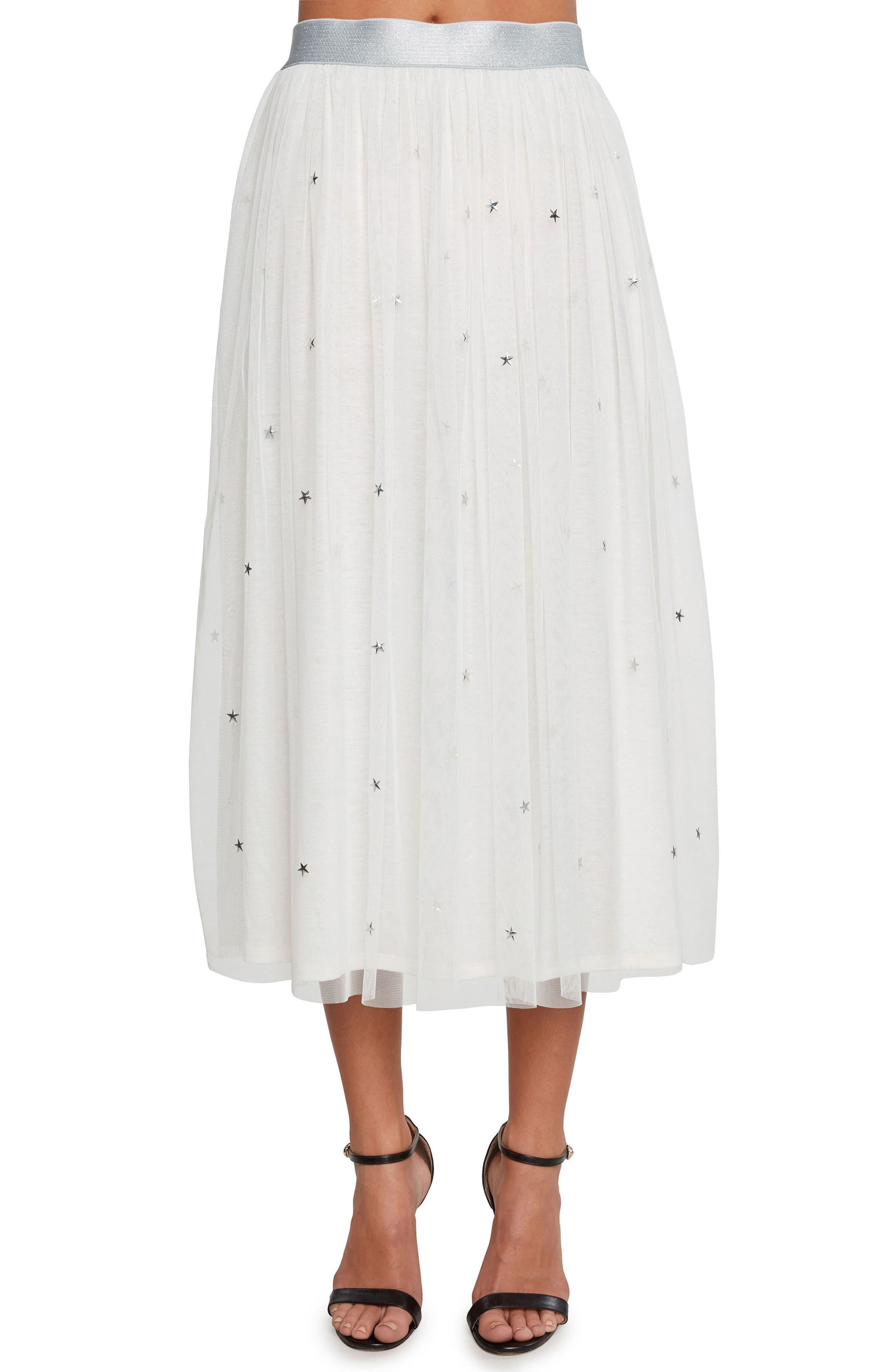 Star Studded Mesh Skirt,                         Main,                         color, Vellum