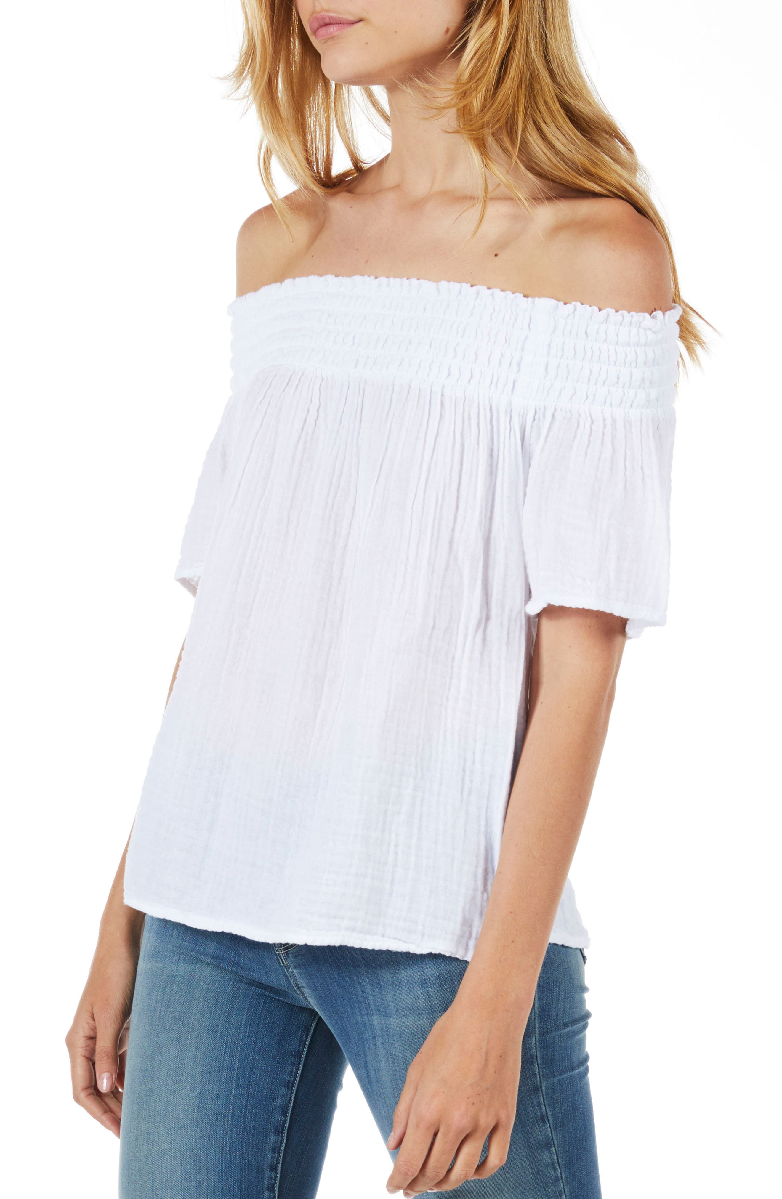 Smocked Cotton Off the Shoulder Top,                             Alternate thumbnail 3, color,                             White