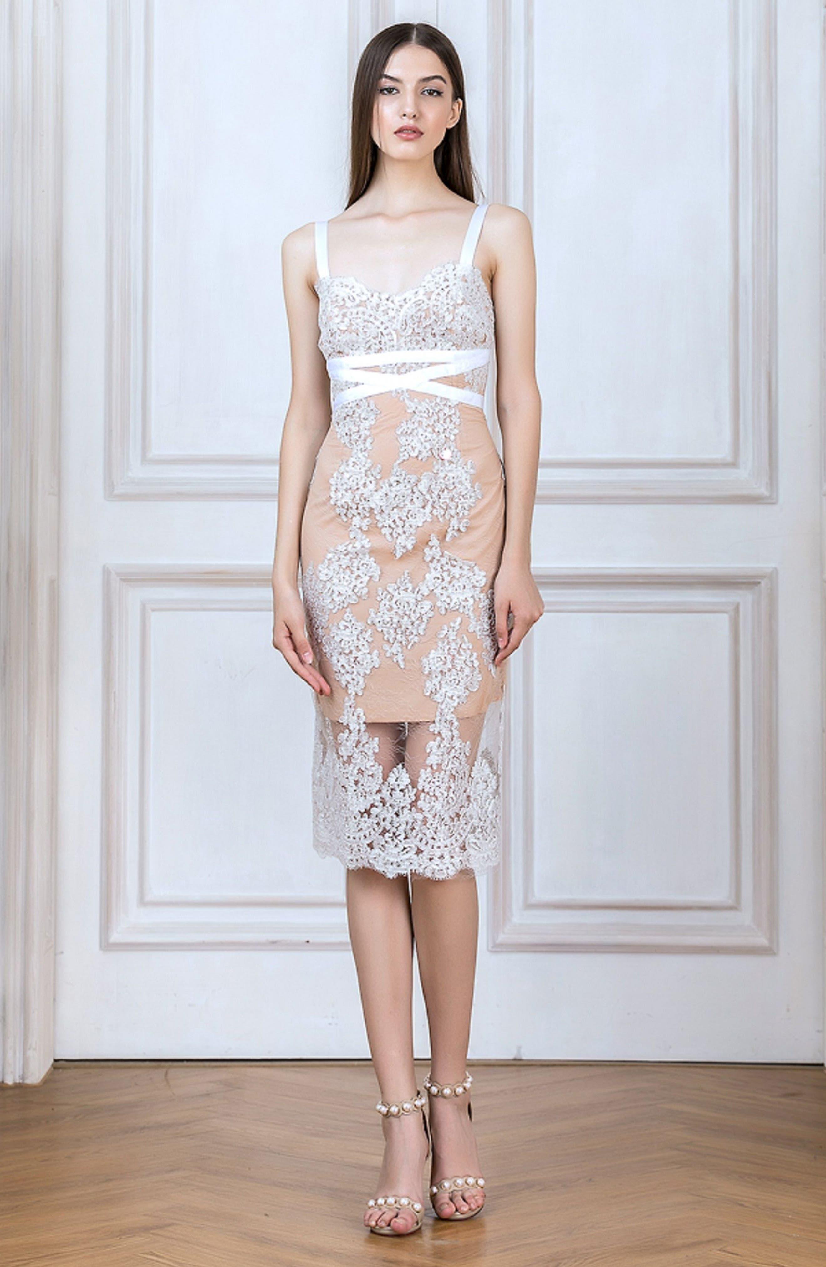 Camilla Lace Sheath Dress,                             Alternate thumbnail 8, color,