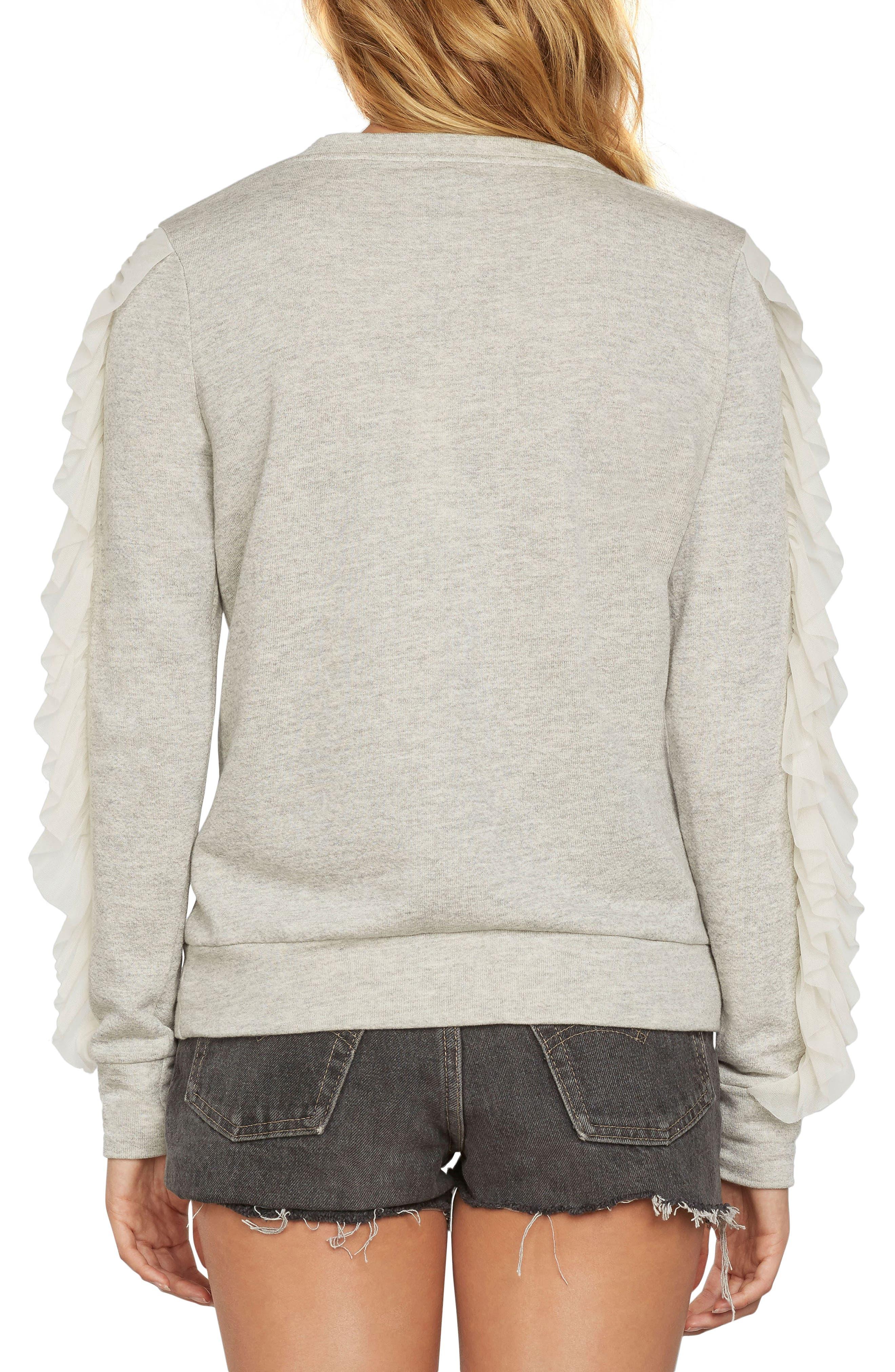 Ruffle Pullover Knit Sweatshirt,                             Alternate thumbnail 2, color,                             Heather Grey