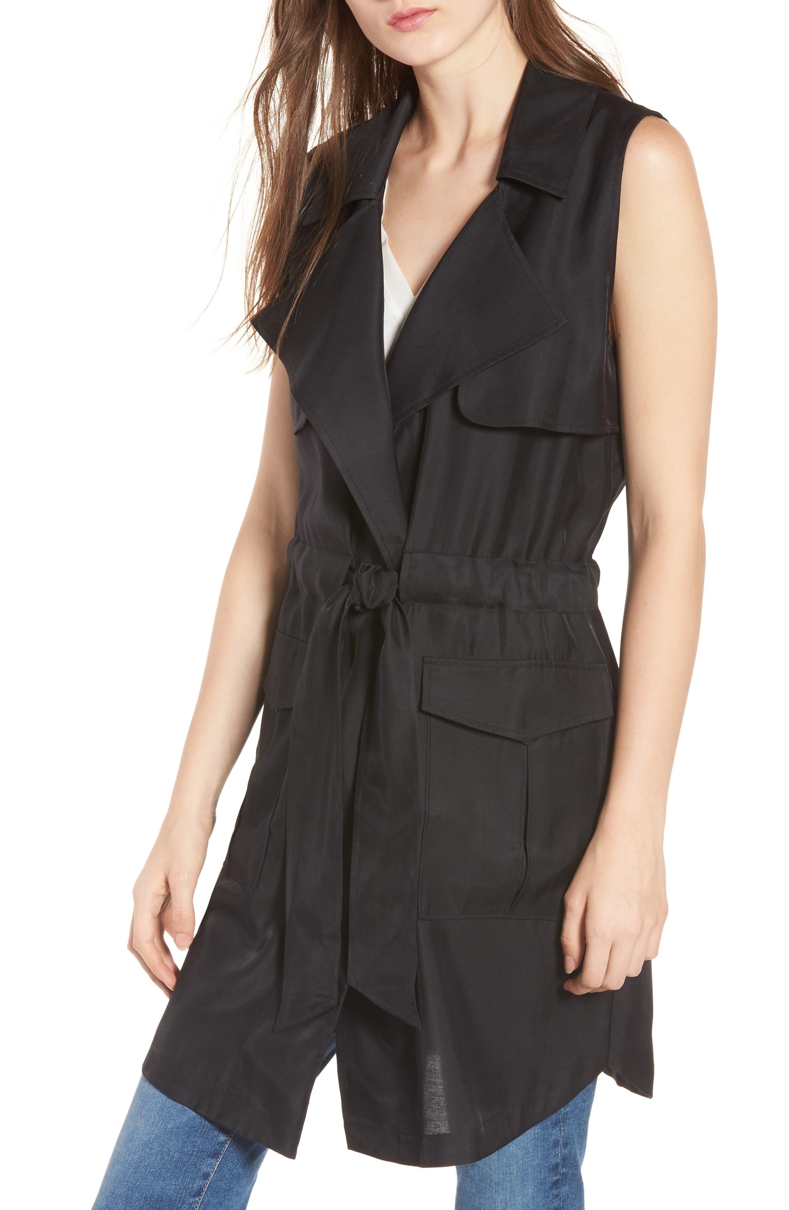 Belted Sleeveless Jacket,                         Main,                         color, Black