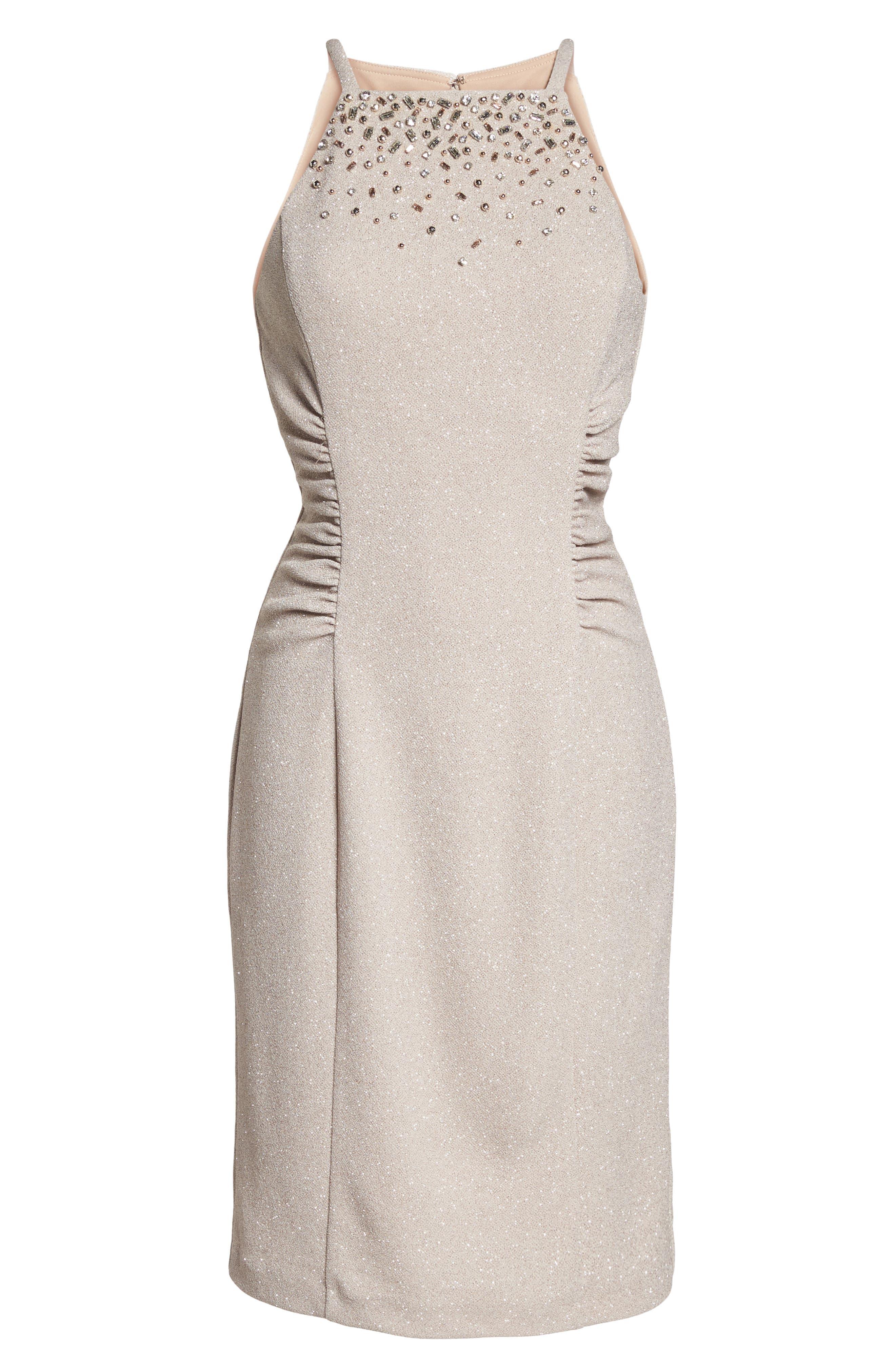 Glitter Knit Sheath Dress,                             Alternate thumbnail 6, color,                             Champagne