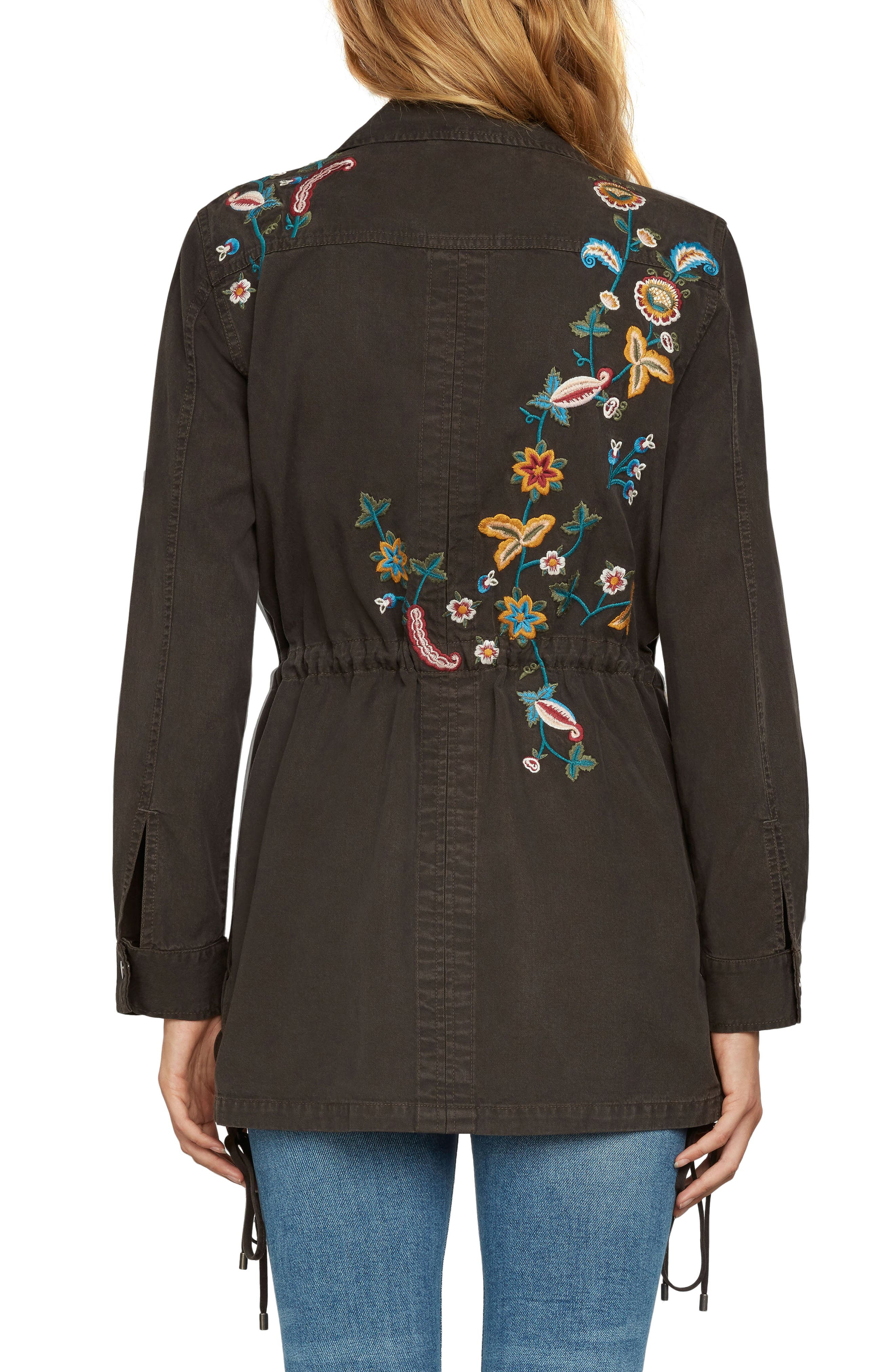 Embroidered Jacket,                             Alternate thumbnail 2, color,                             Dark Olive