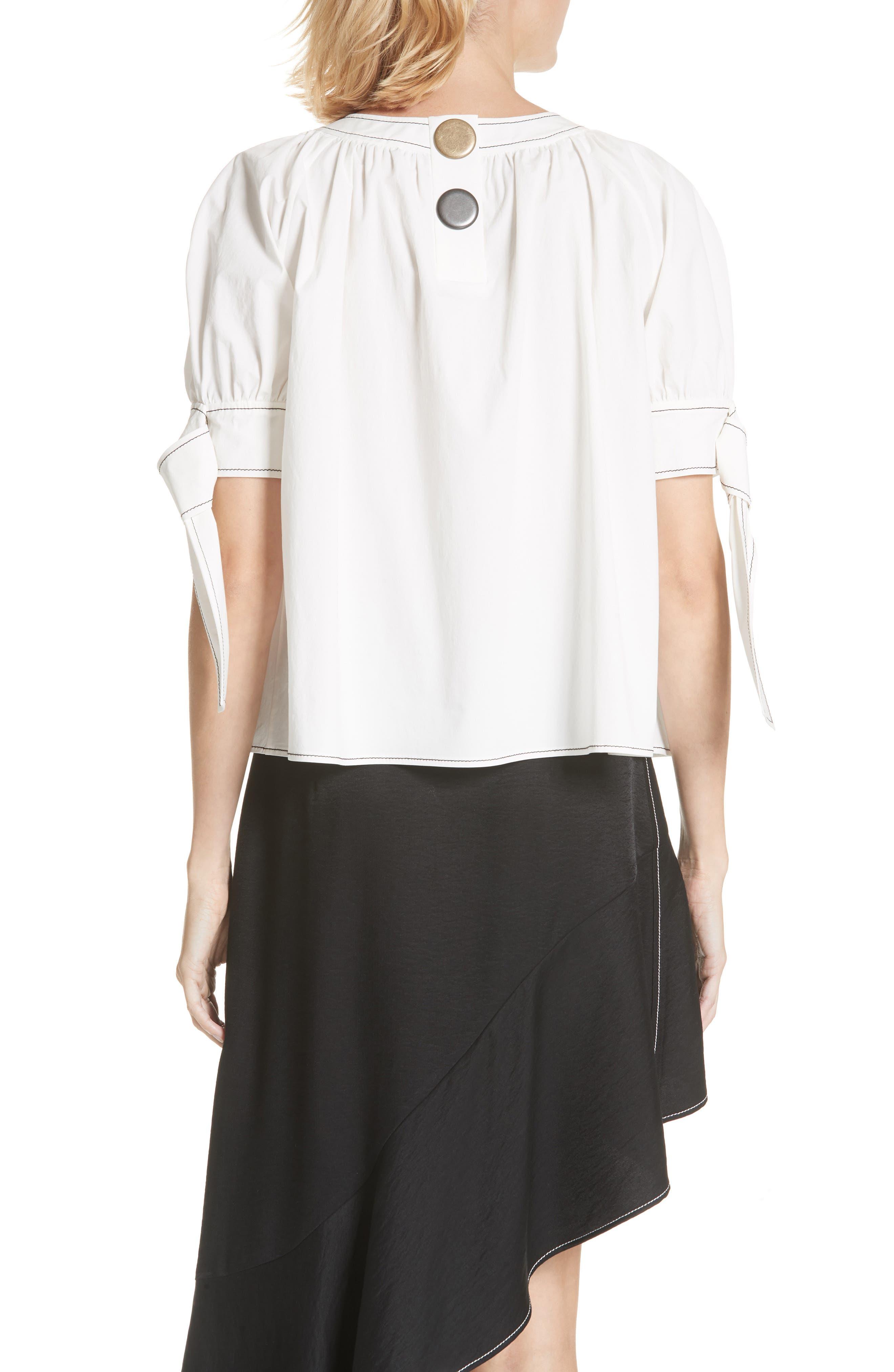 Hailey Short Sleeve Blouse Top,                             Alternate thumbnail 2, color,                             Cotton White