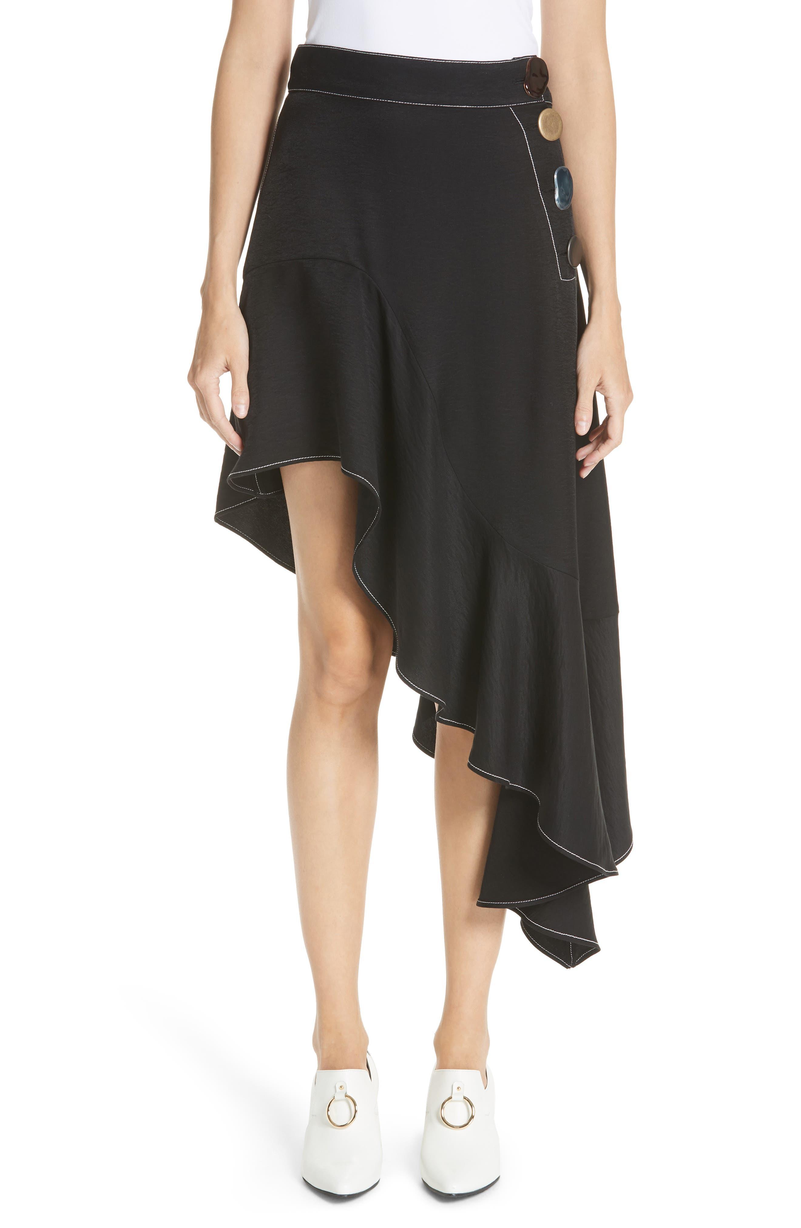 Ella Asymmetrical Ruffle Skirt,                         Main,                         color, Rayon Black
