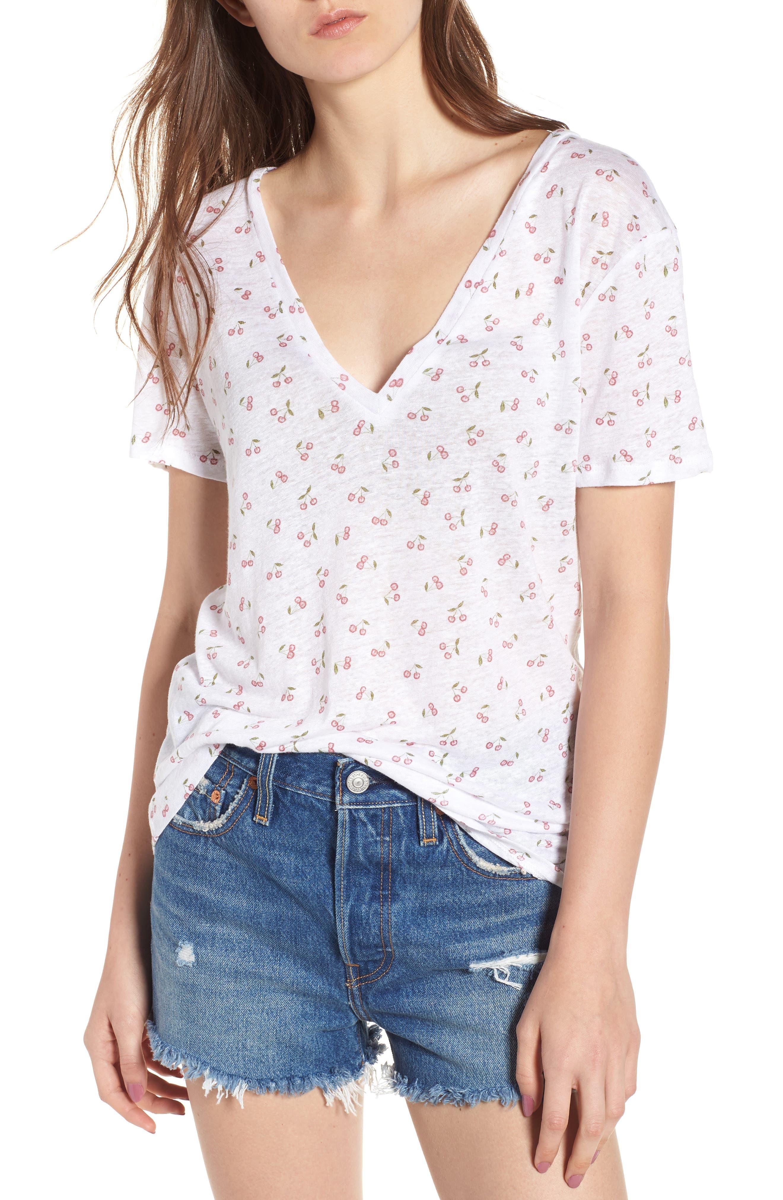 Cara V-Neck Slub Knit Tee,                         Main,                         color, White Cherries