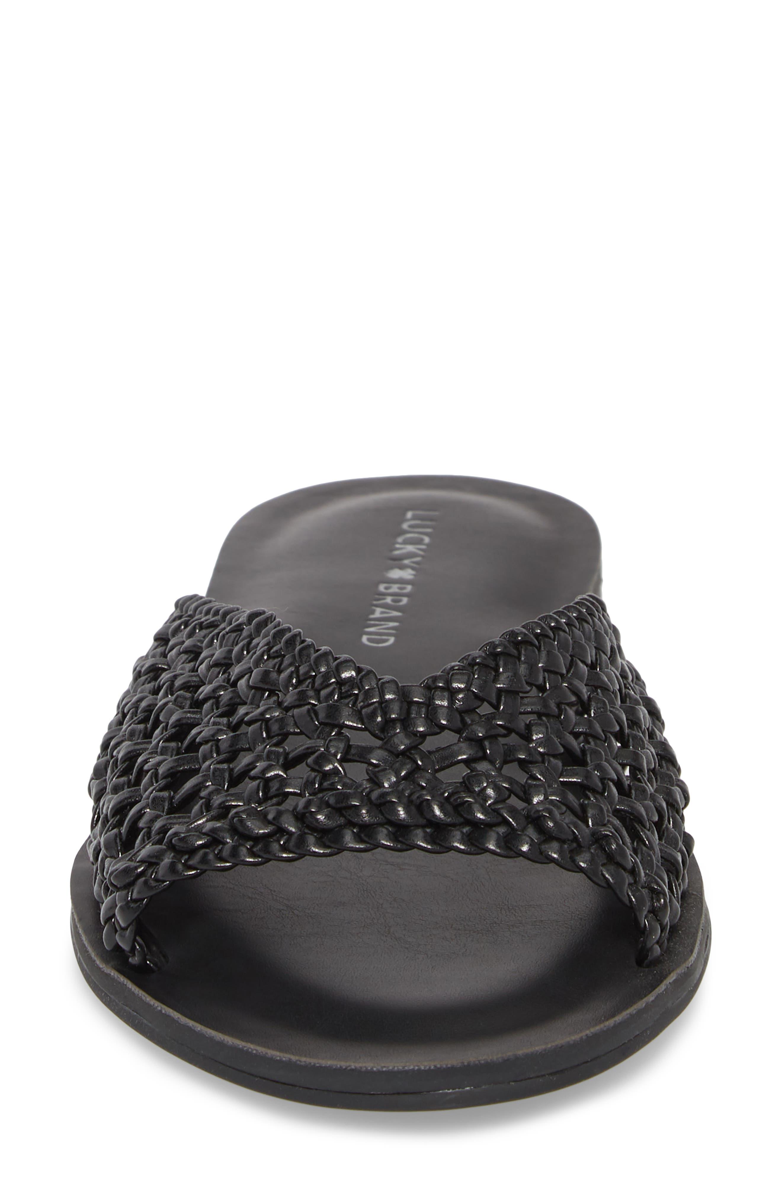 Adola Slide Sandal,                             Alternate thumbnail 4, color,                             Black Leather