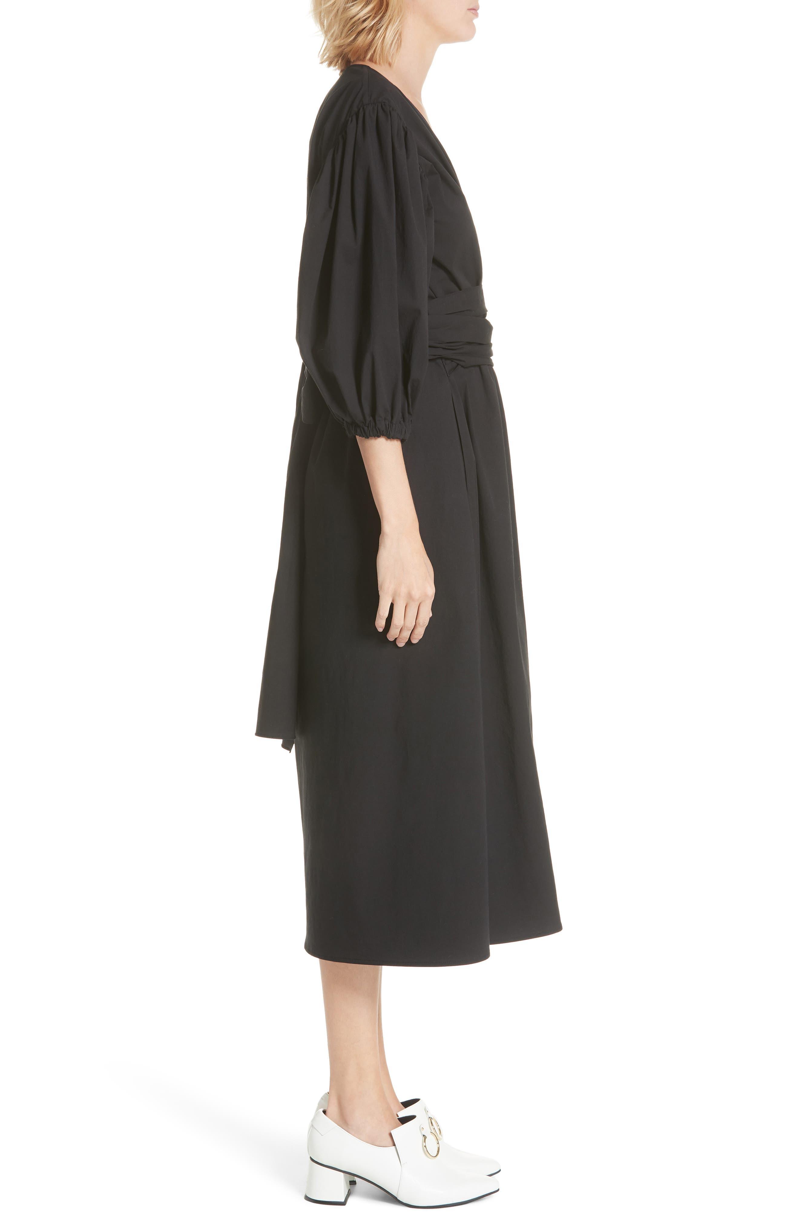 Miriam Wrap Dress,                             Alternate thumbnail 3, color,                             Cotton Black