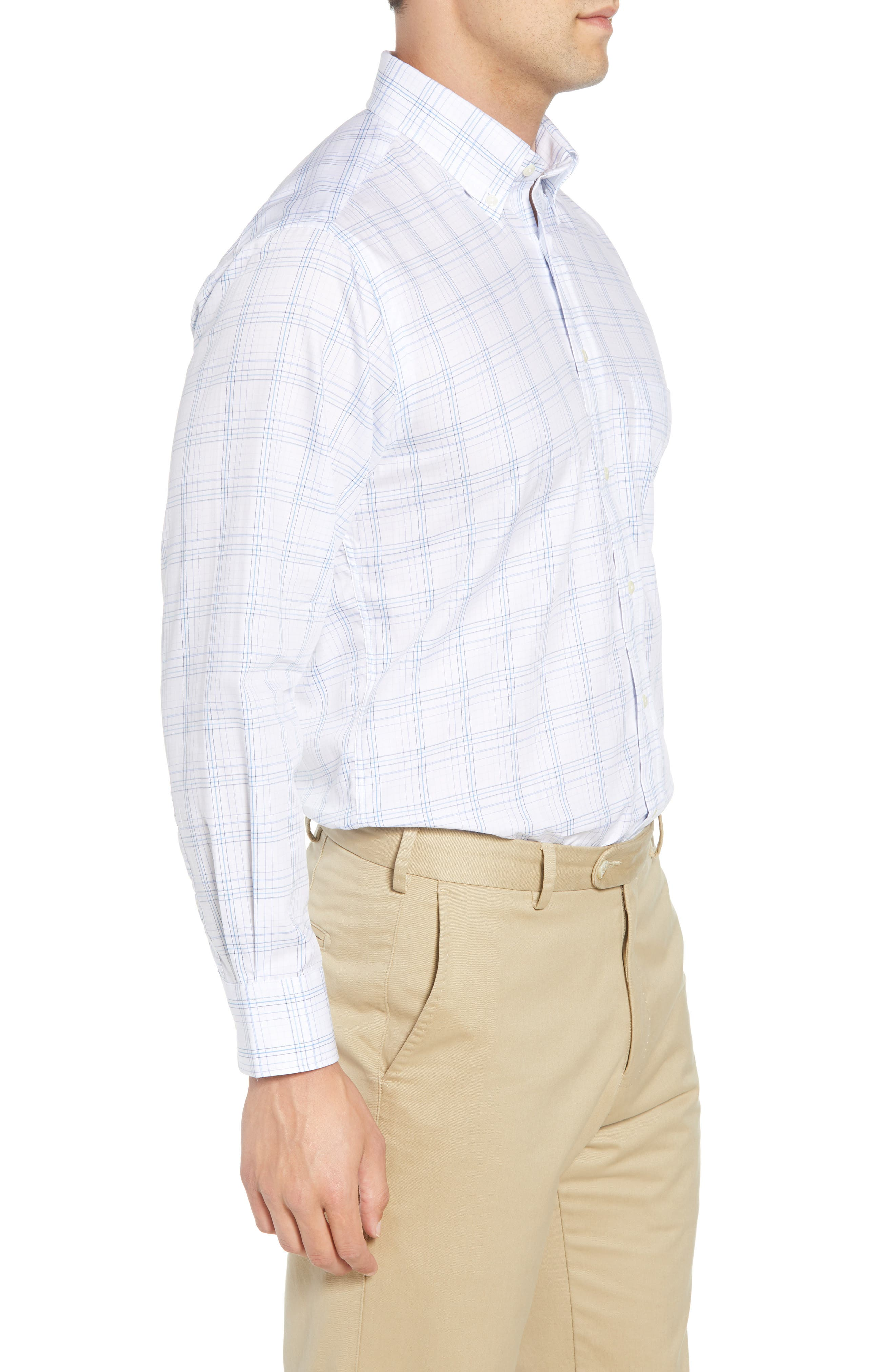 Tailored Fit Plaid Dress Shirt,                             Alternate thumbnail 4, color,                             Blue