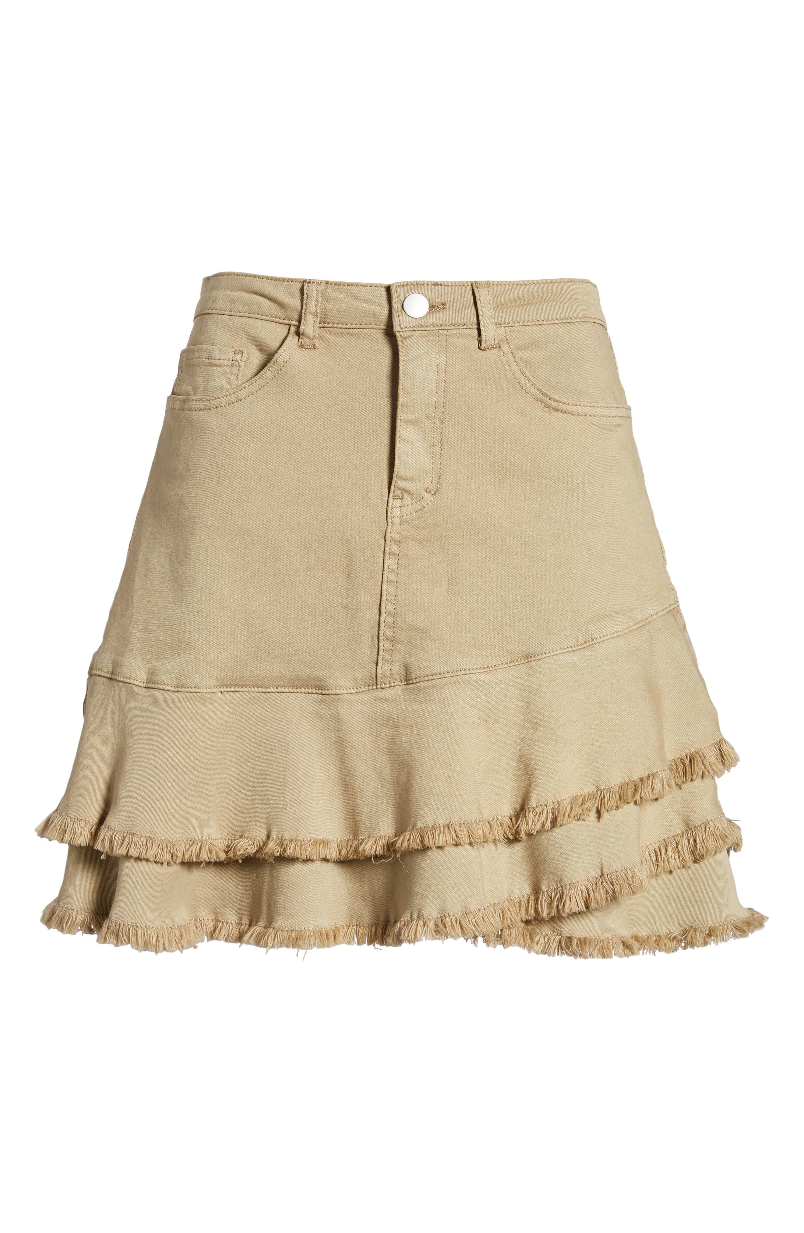 Tiered Fray Hem Skirt,                             Alternate thumbnail 6, color,                             Beige Nougat