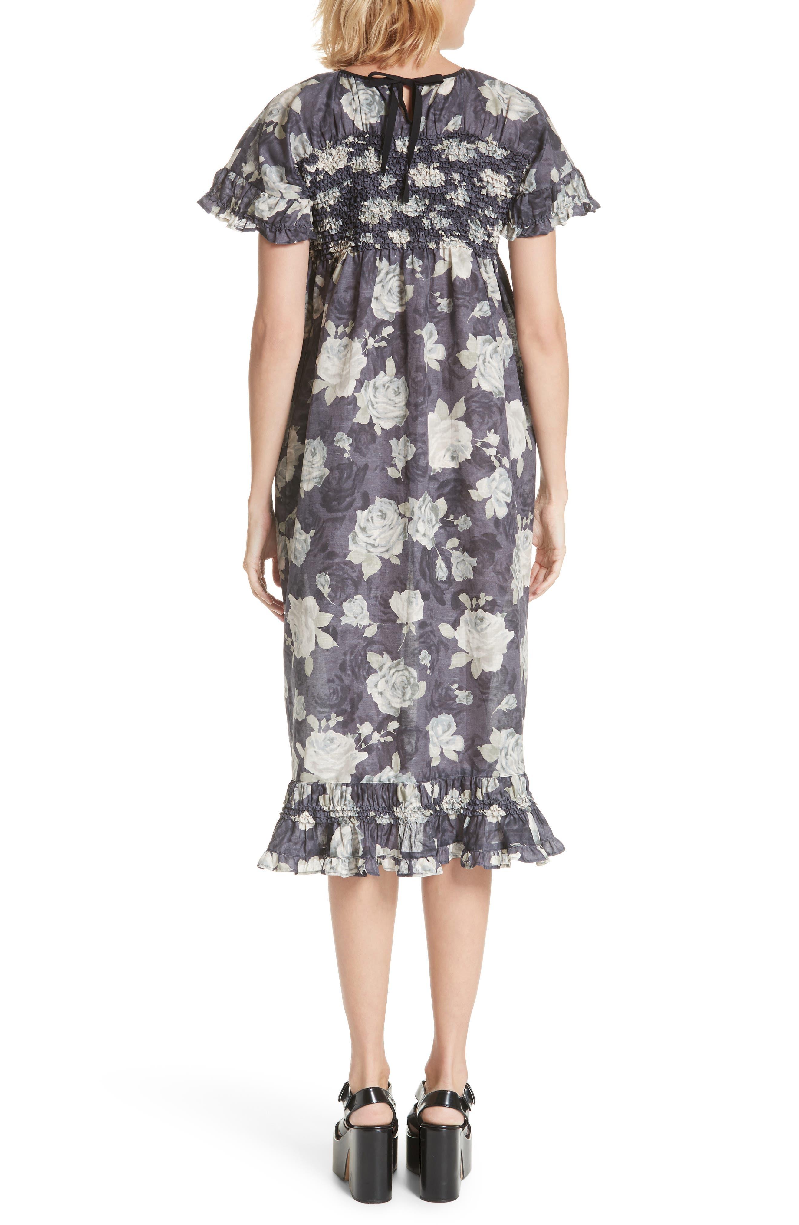 Rose Print Dress,                             Alternate thumbnail 2, color,                             Charcoal X Black