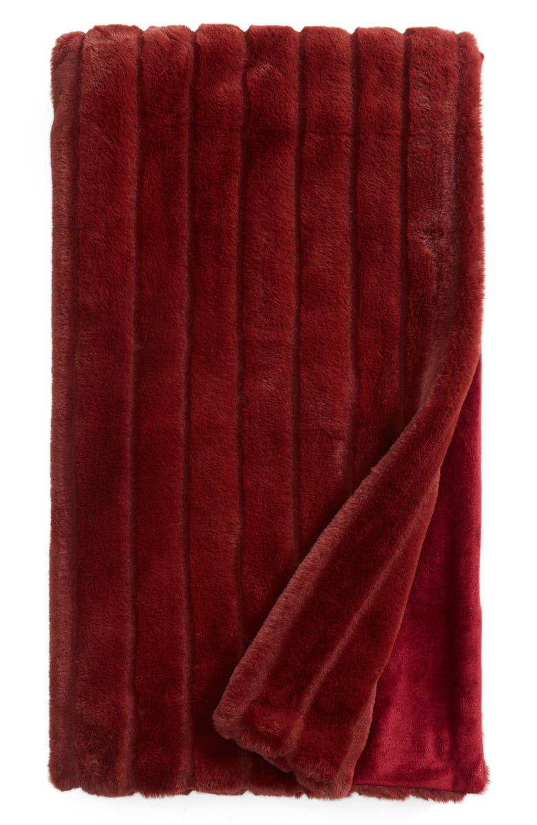 Sheared Stripe Faux Fur Throw,                         Main,                         color, Burgundy Andorra