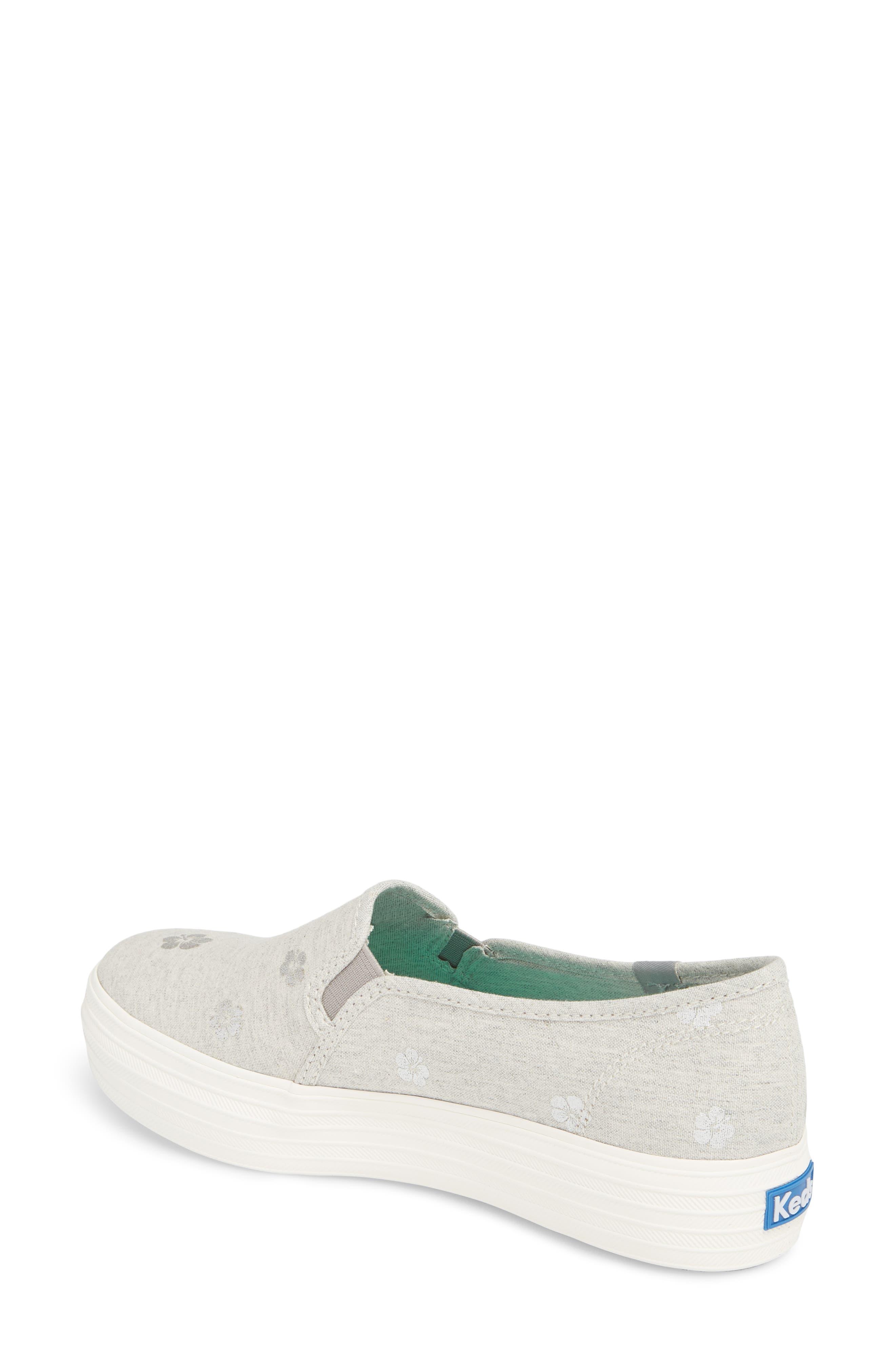 Triple Decker Hibiscus Slip-On Platform Sneaker,                             Alternate thumbnail 2, color,                             Light Grey