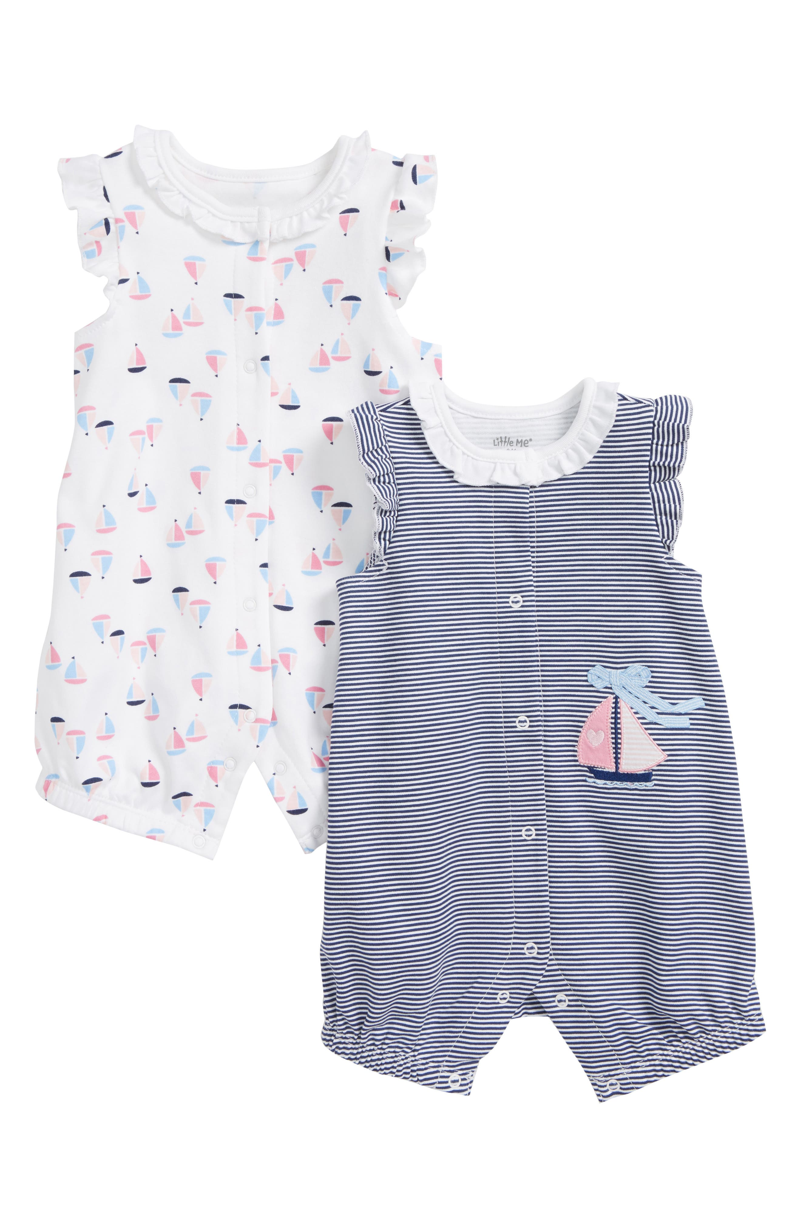 Sailboat 2-Pack Rompers,                         Main,                         color, Blue Multi