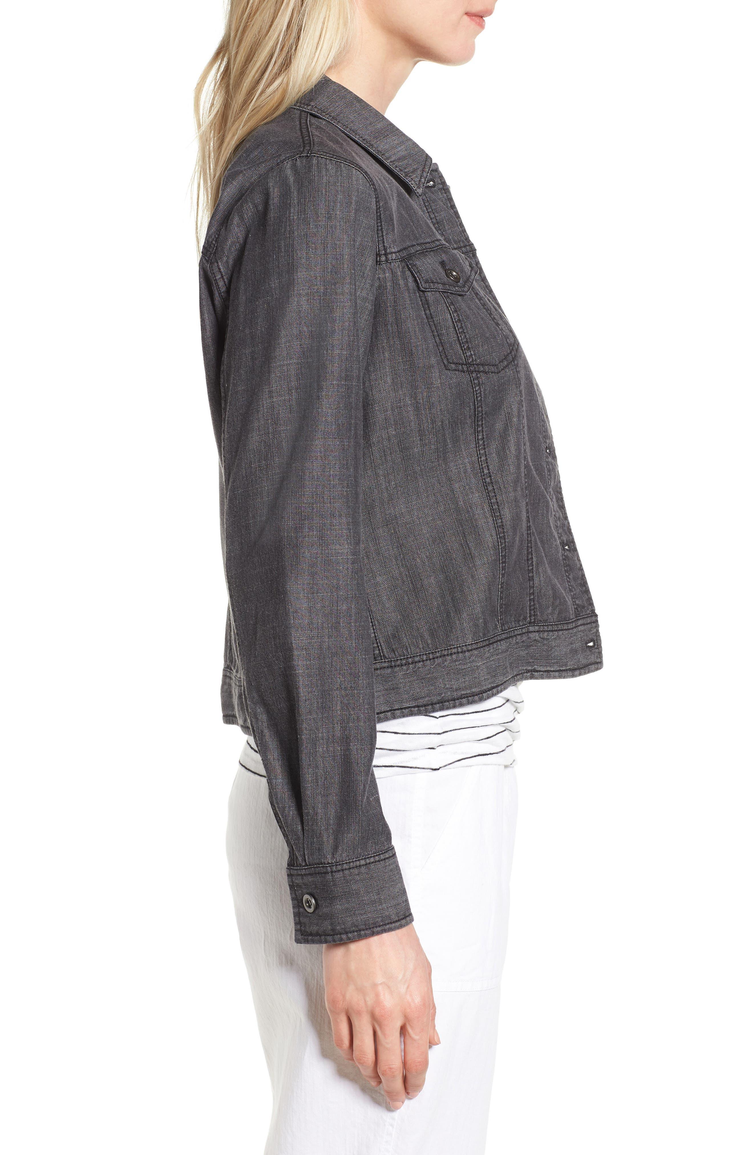 Crop Denim Jacket,                             Alternate thumbnail 3, color,                             Black