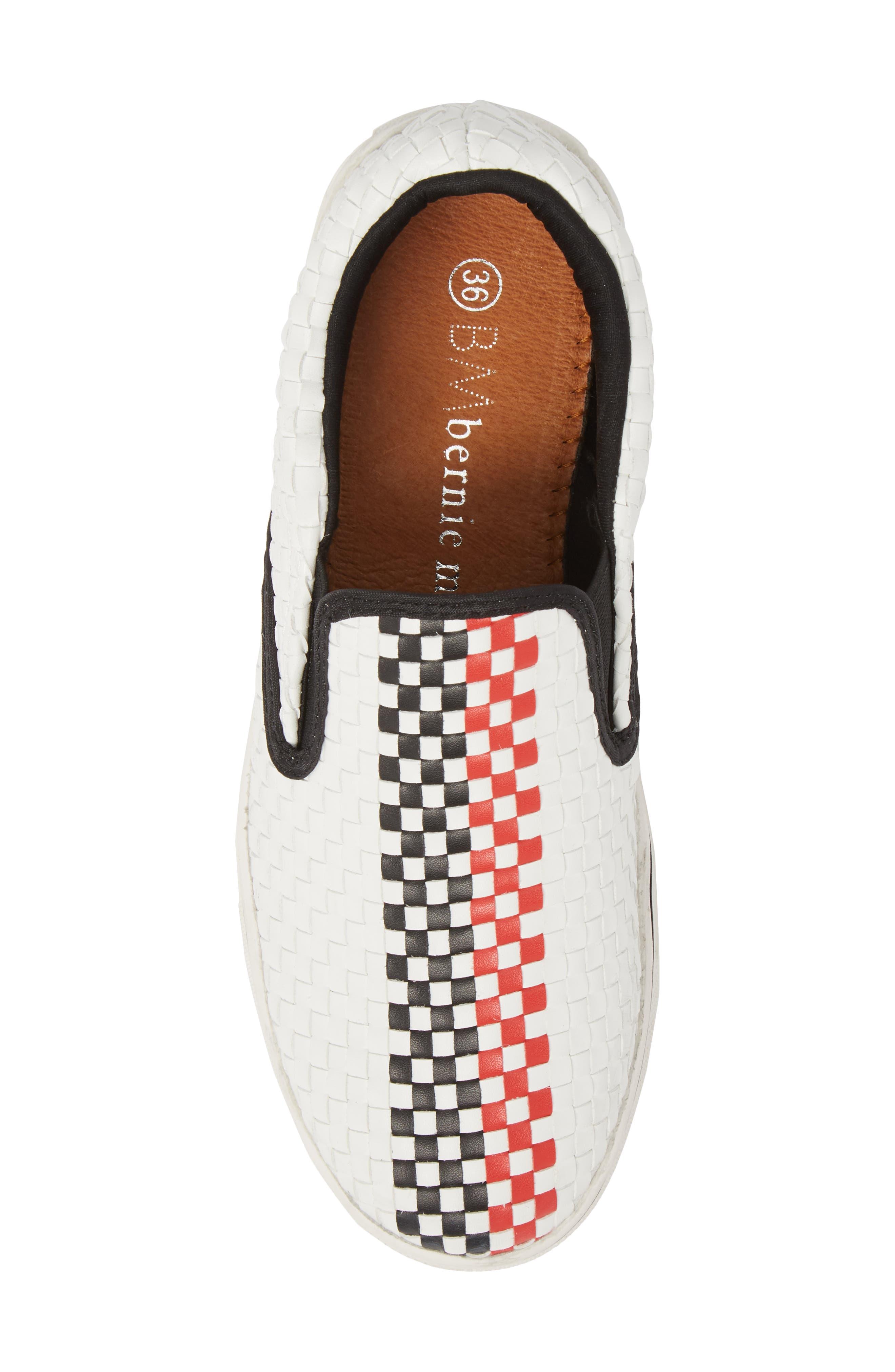 Checkerboard Slip-On Sneaker,                             Alternate thumbnail 5, color,                             White/ Red/ Black