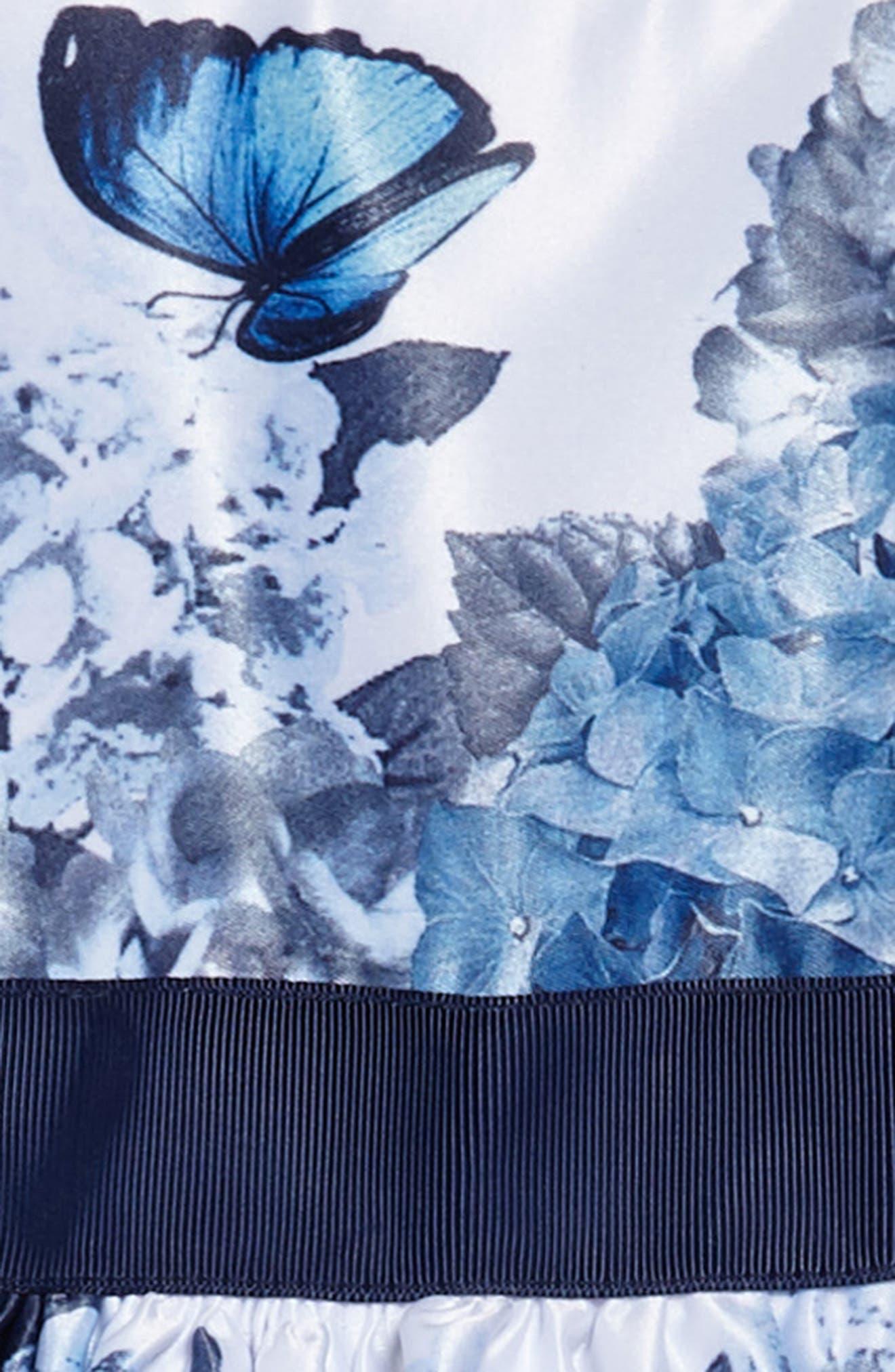 Floral Fit & Flare Satin Party Dress,                             Alternate thumbnail 3, color,                             Blue/ White
