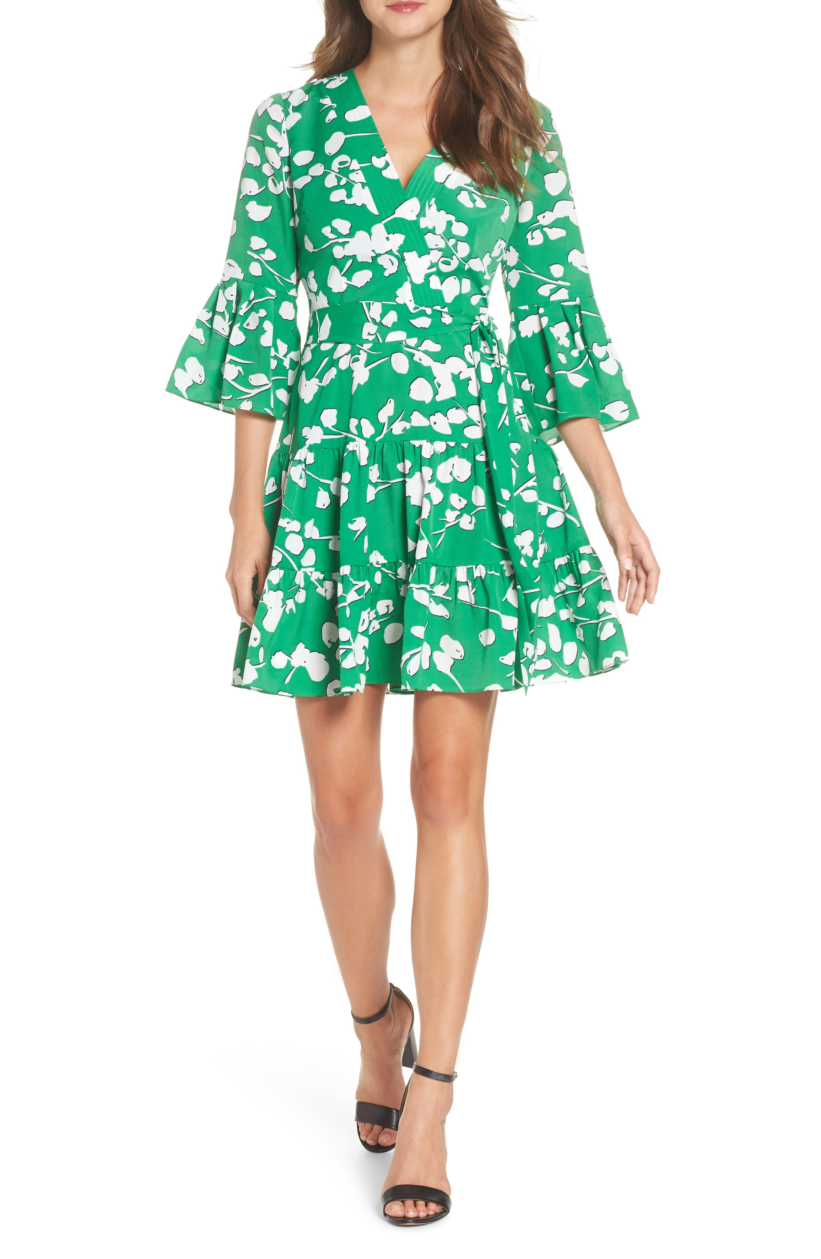 Bell Sleeve Faux Wrap Dress,                         Main,                         color, Green