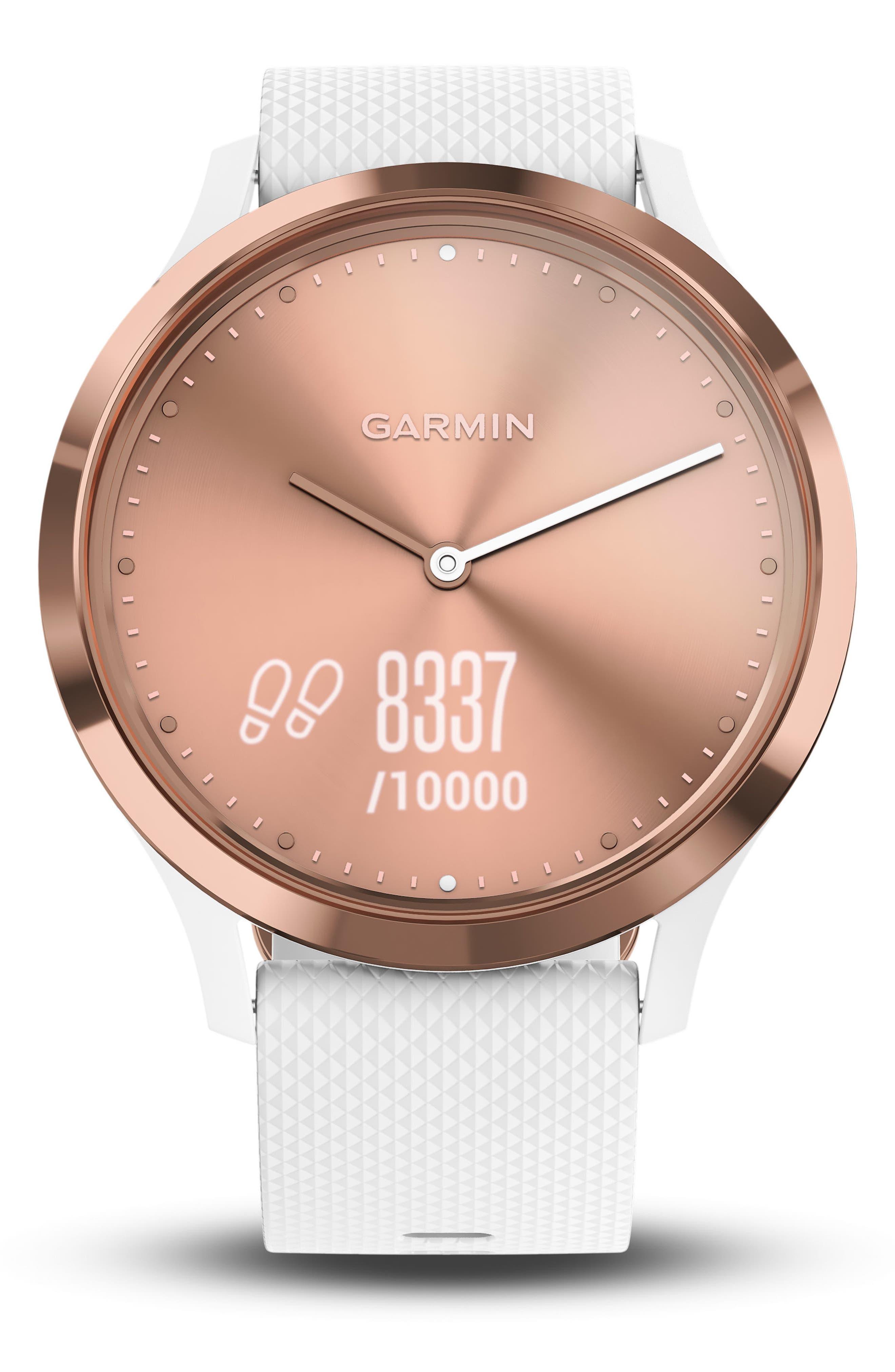 Vivomove HR Large Sport Hybrid Smart Watch,                             Alternate thumbnail 4, color,                             White/ Rose Gold/ Rose Gold