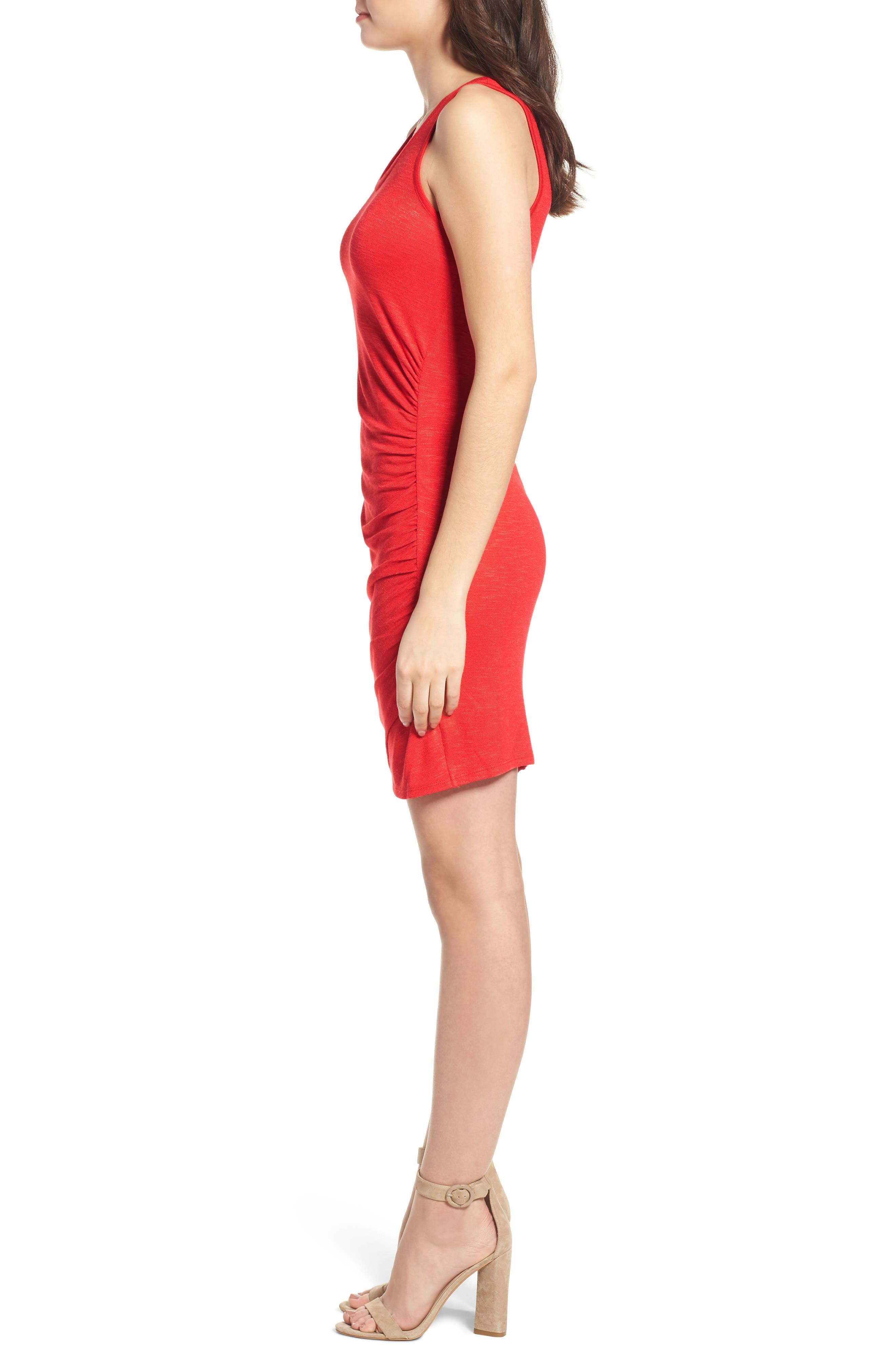 Ruched Minidress,                             Alternate thumbnail 3, color,                             Red