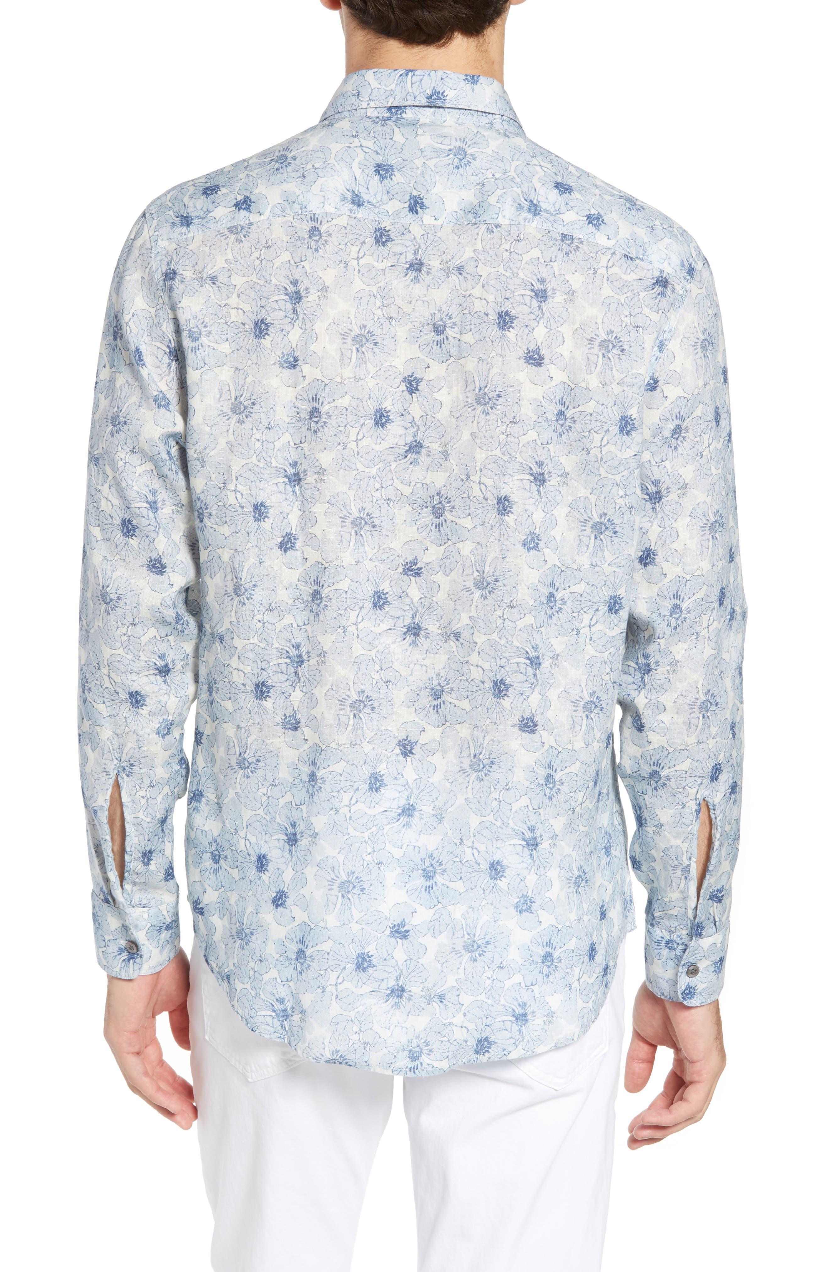 Tavton Regular Fit Floral Linen Sport Shirt,                             Alternate thumbnail 3, color,                             Sky