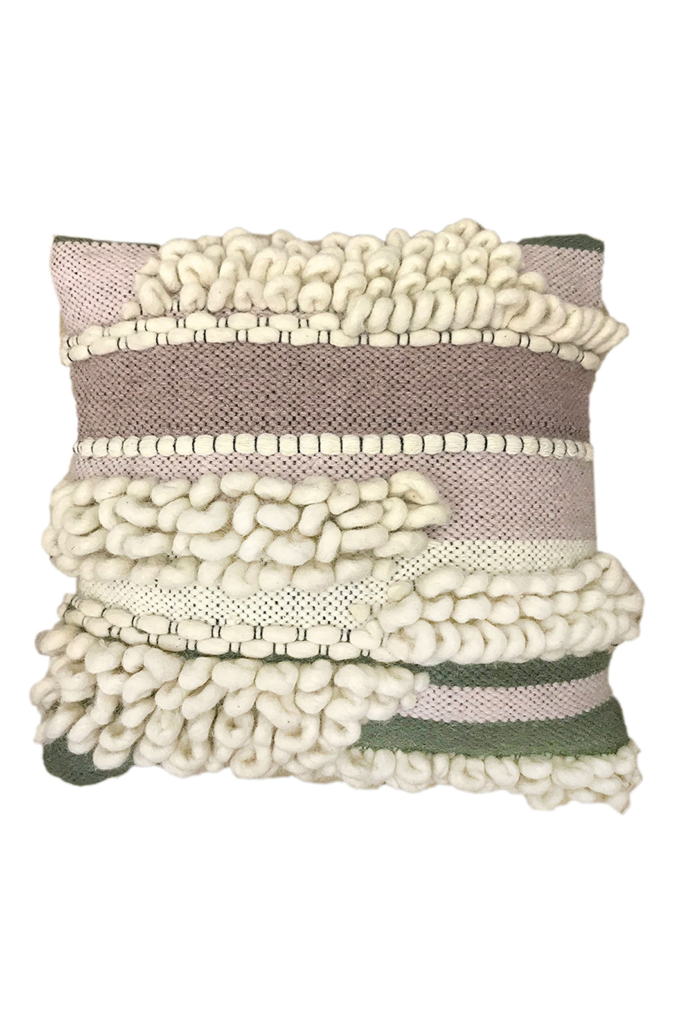 Safi Wool Accent Pillow,                             Main thumbnail 1, color,                             Ivory/ Berry/ Moss