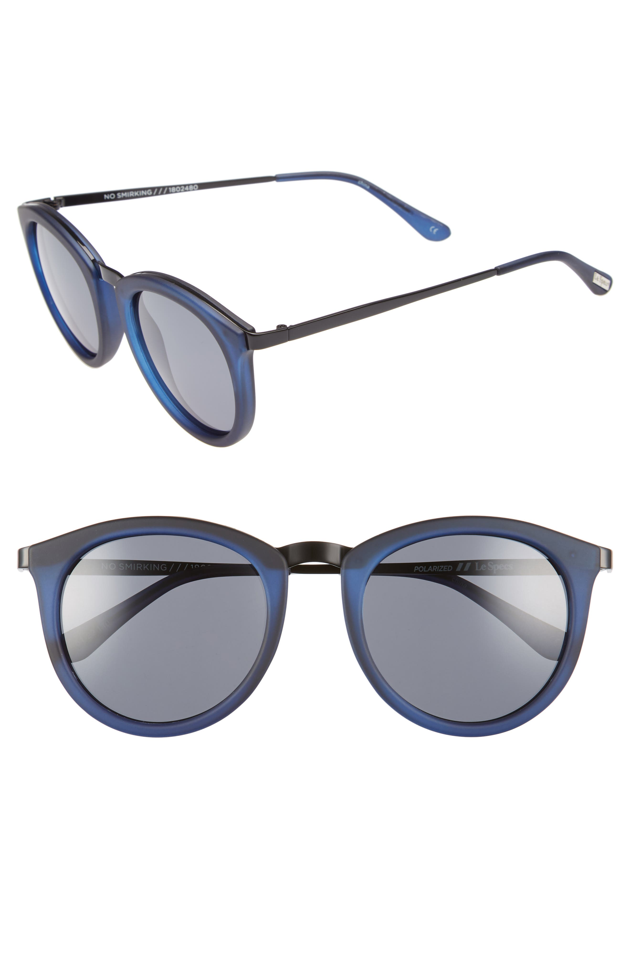 No Smirking 50mm Polarized Sunglasses,                         Main,                         color, Navy Rubber