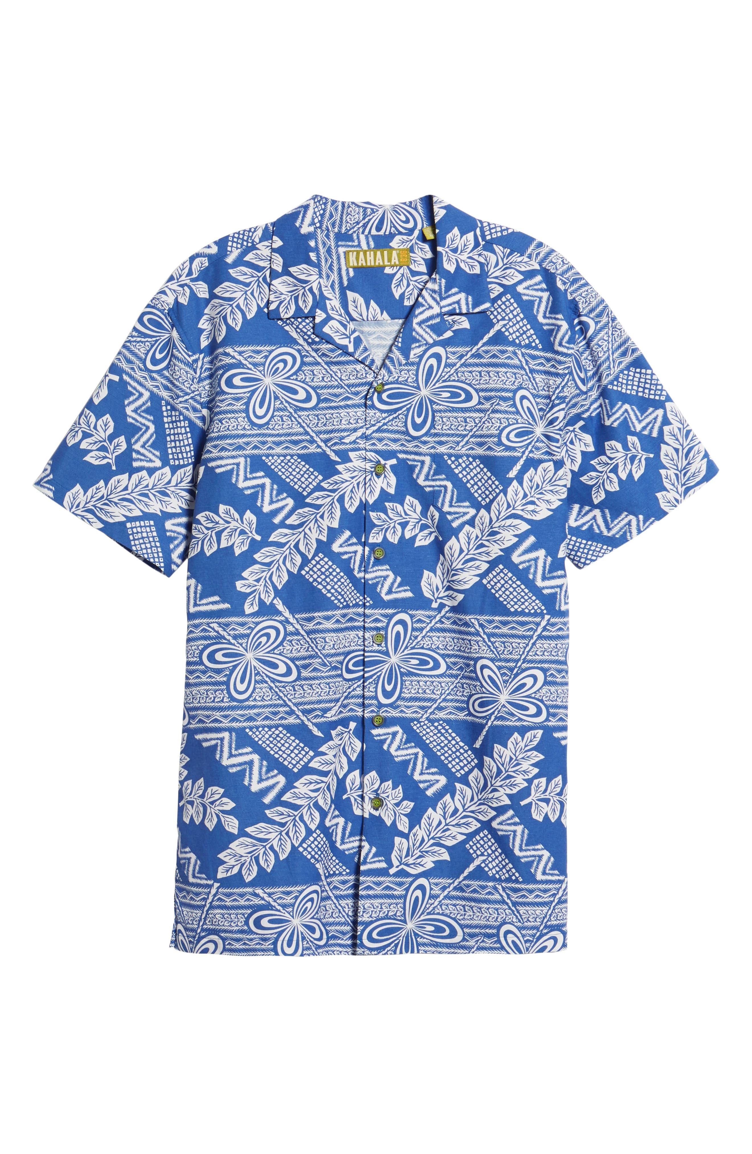 Makana Trim Fit Print Sport Shirt,                             Alternate thumbnail 6, color,                             Kai