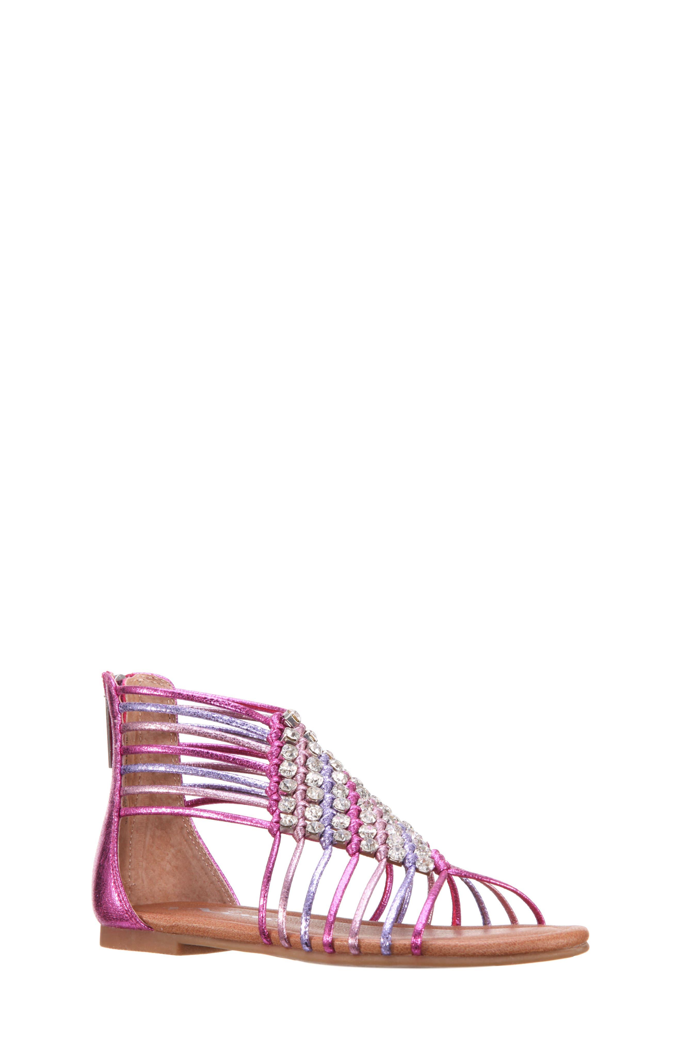 Karlee Embellished Sandal,                         Main,                         color, Pink Multi Metallic Crackle