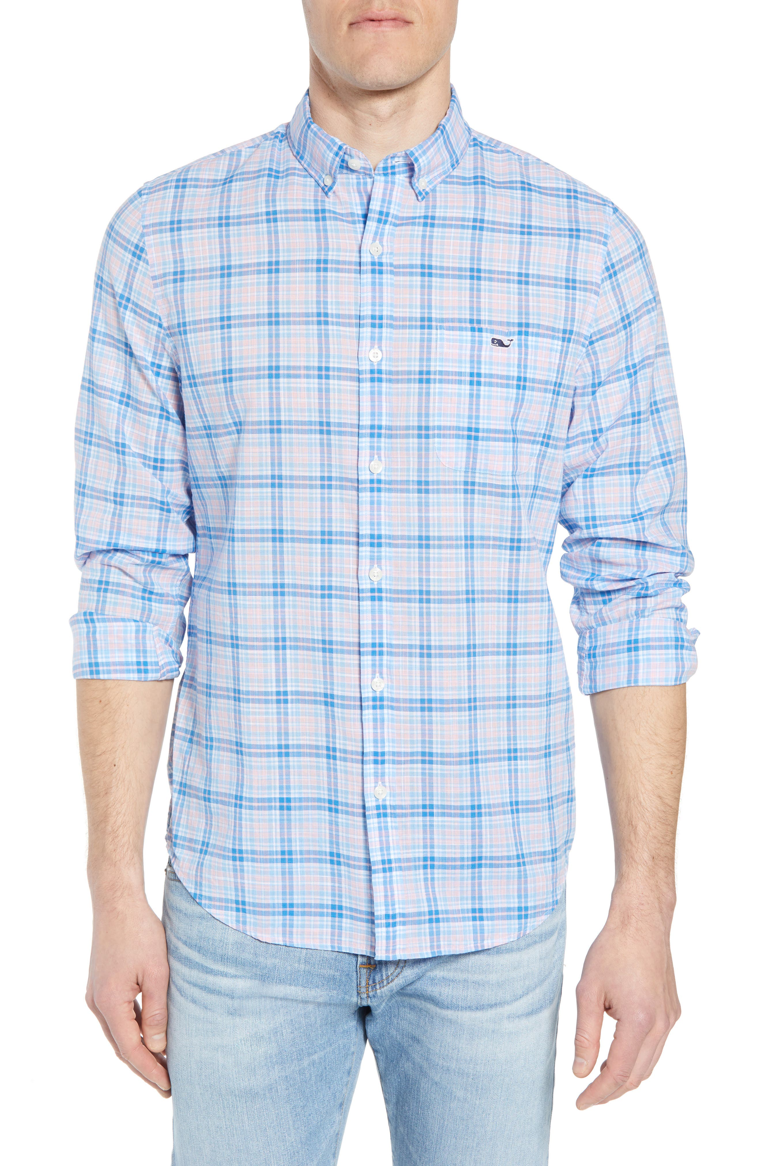 Stoney Hill Tucker Classic Fit Plaid Sport Shirt,                         Main,                         color, Hibiscus