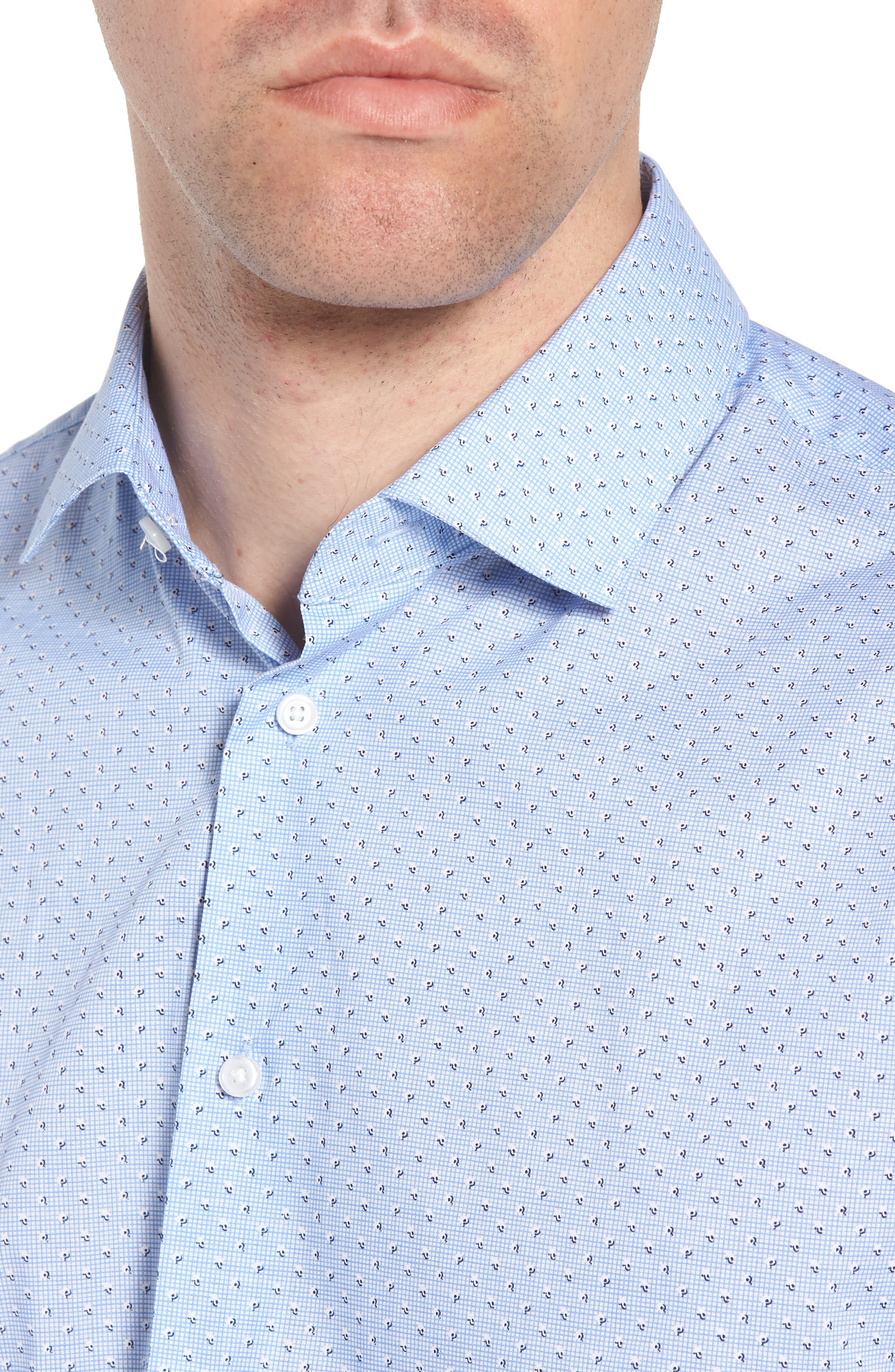 Trim Fit Print Dress Shirt,                             Alternate thumbnail 2, color,                             Blue Robbia