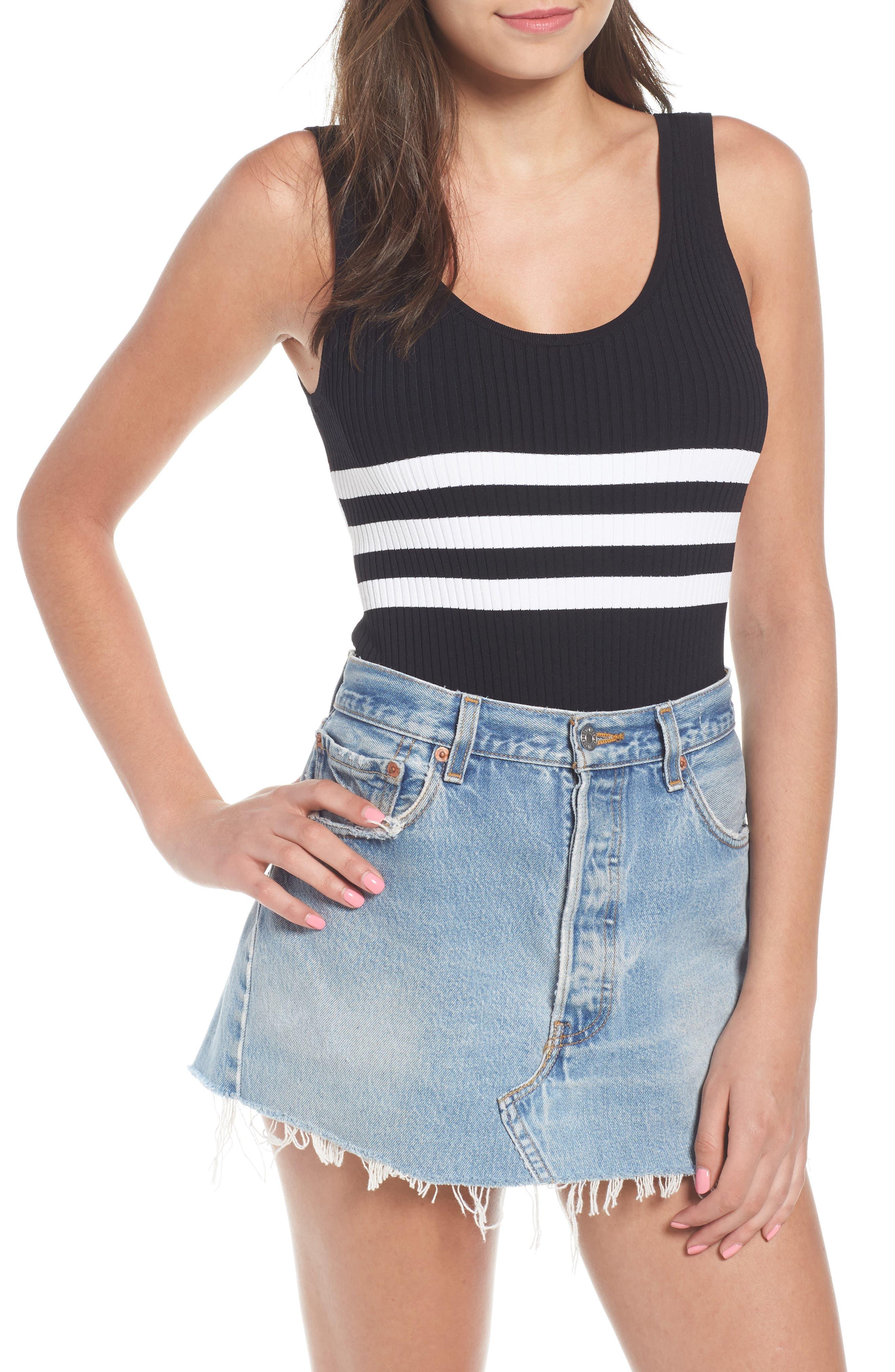 Stripe Bodysuit,                         Main,                         color, Black