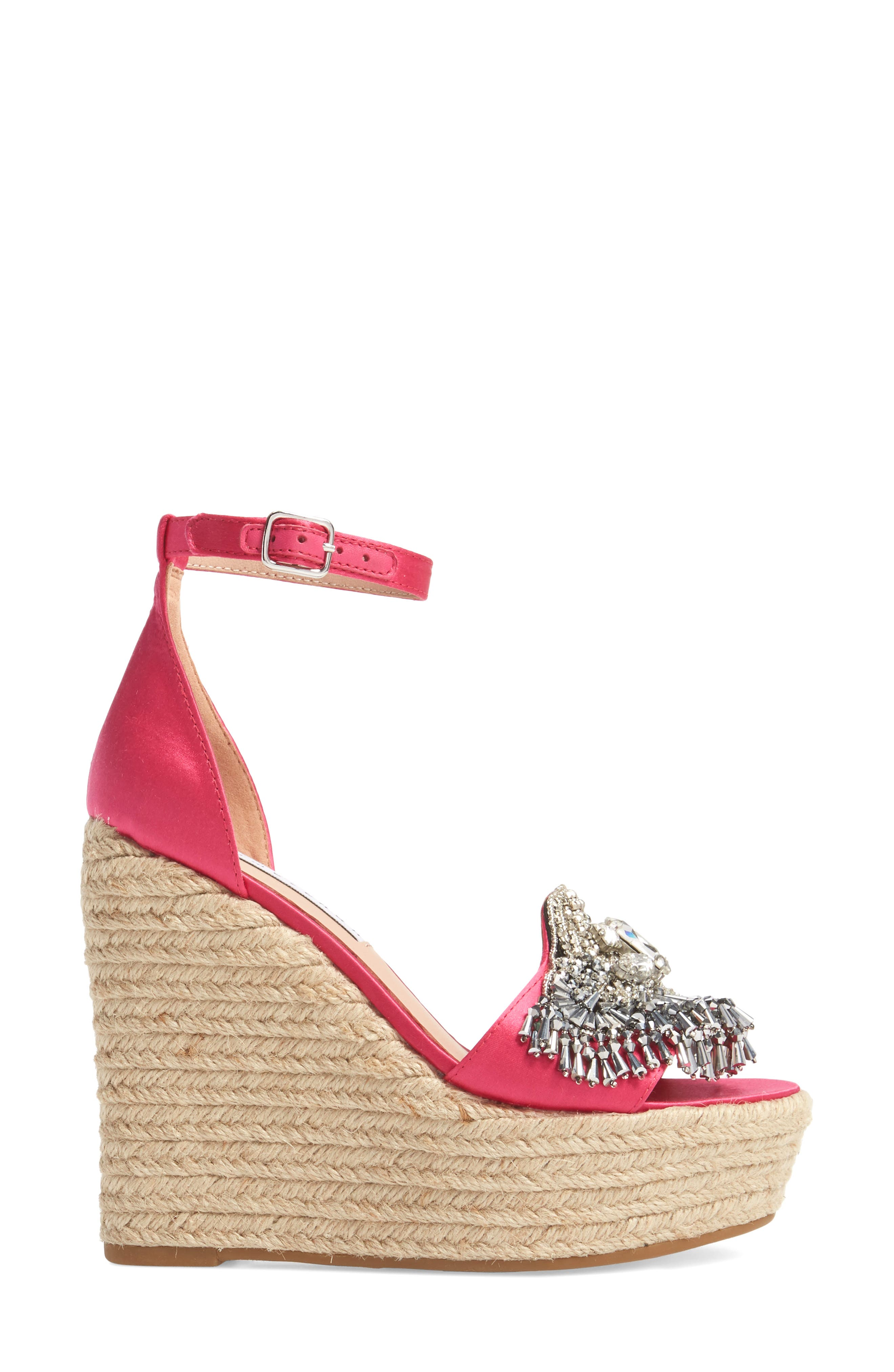 Maxim Platform Wedge Sandal,                             Alternate thumbnail 3, color,                             Posey Satin